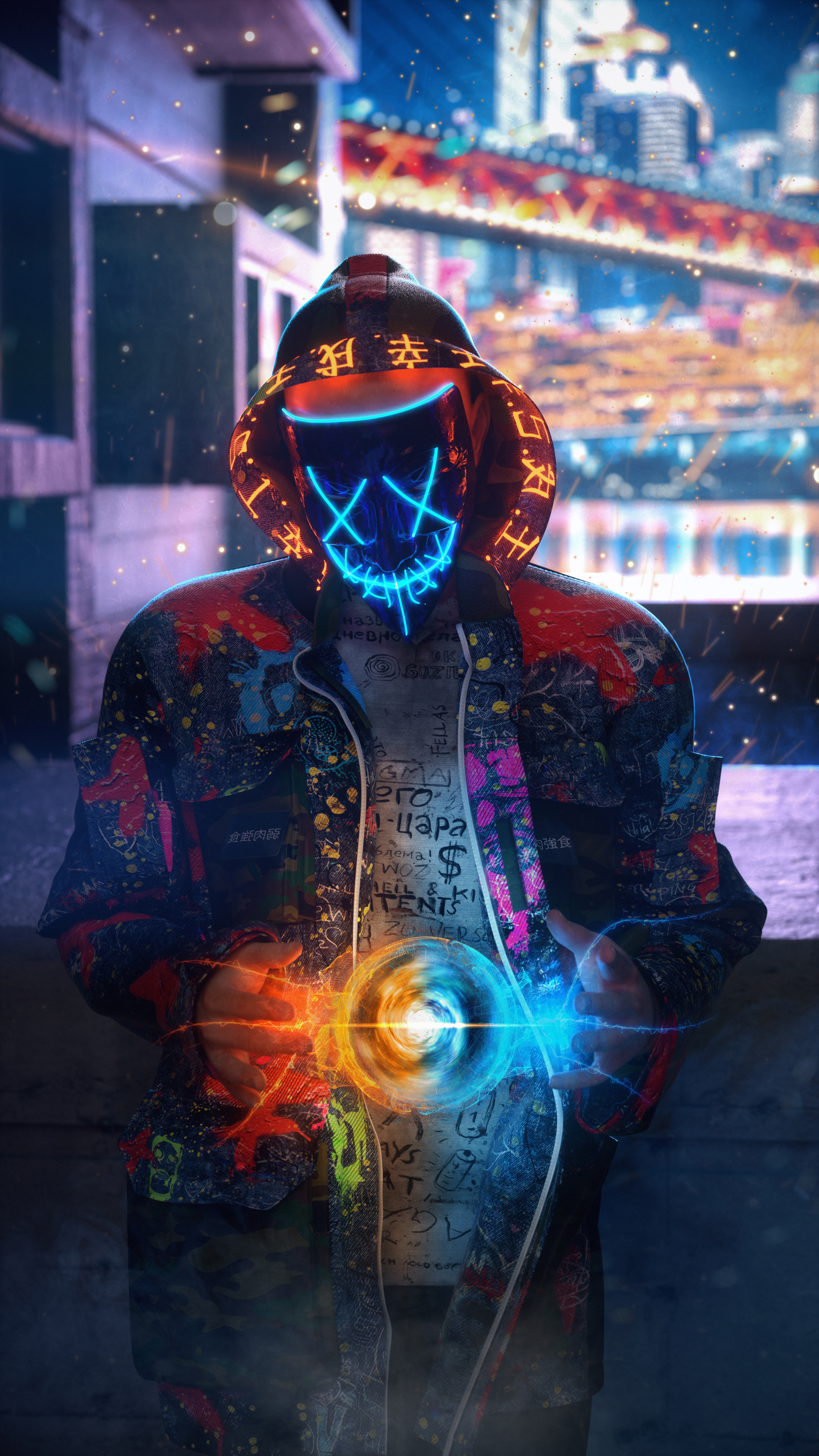 2160x3840 Mask Neon Guy Making Chakra 4k Sony Xperia X,XZ ...