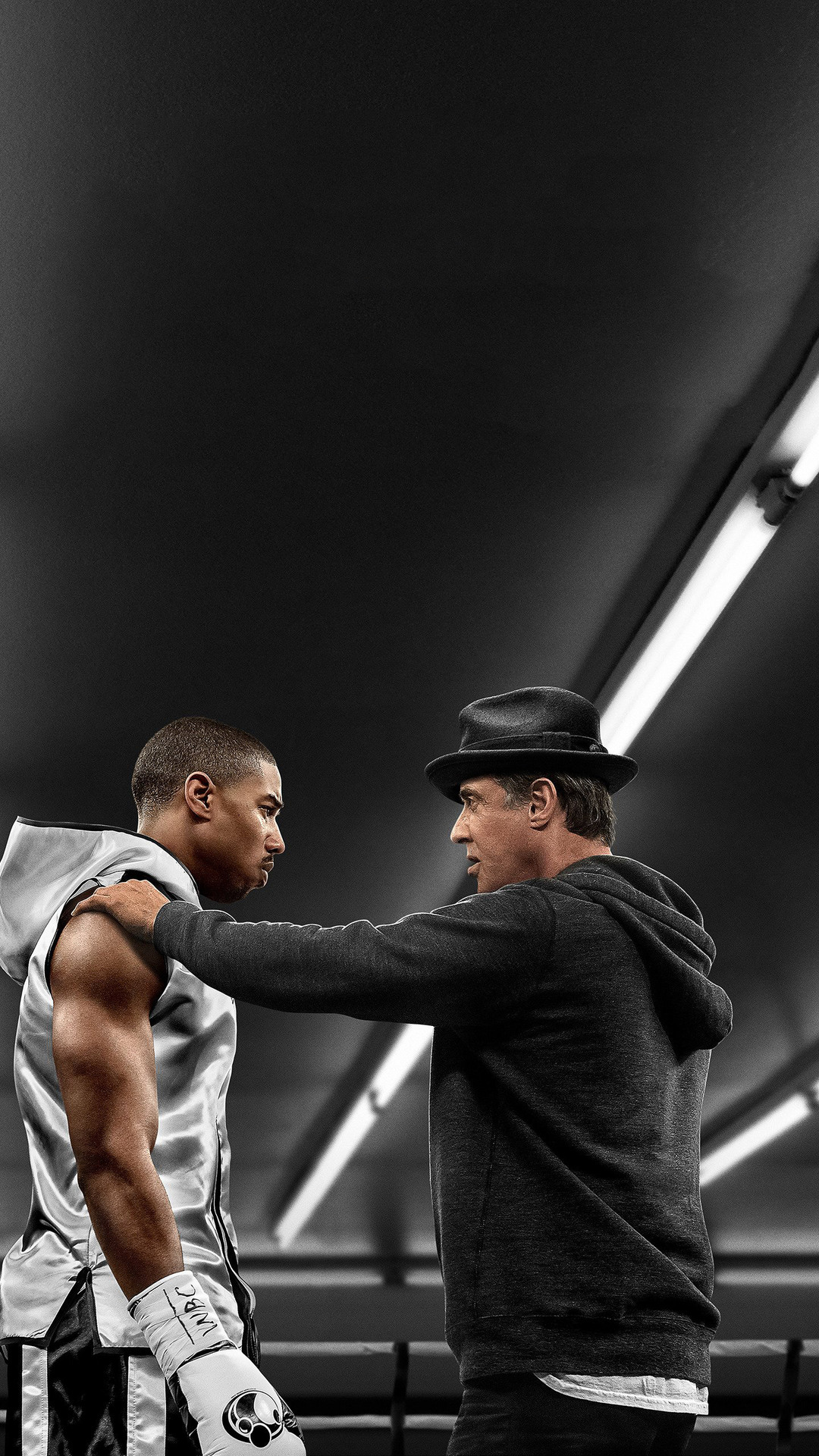1080x1920 michael b jordan and sylvester stallone in creed movie iphone 7 6s 6 plus pixel xl. Black Bedroom Furniture Sets. Home Design Ideas