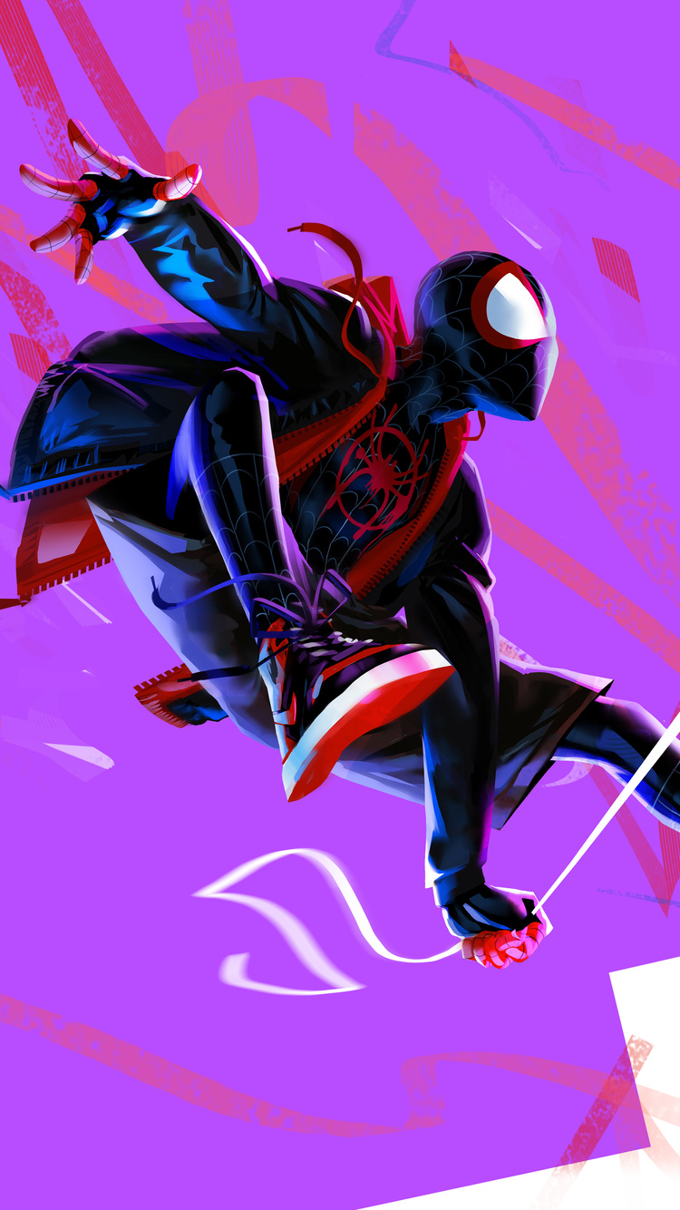 750x1334 Miles Morales In Spider Man Into The Spider Verse 4k