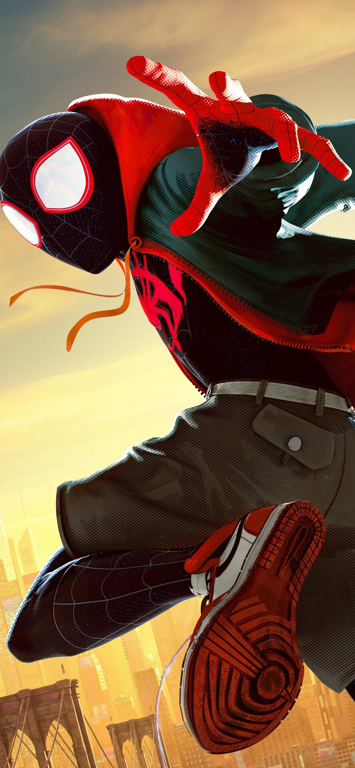 1242x2688 Miles Morales In Spider Man Into The Spider Verse Movie 5k