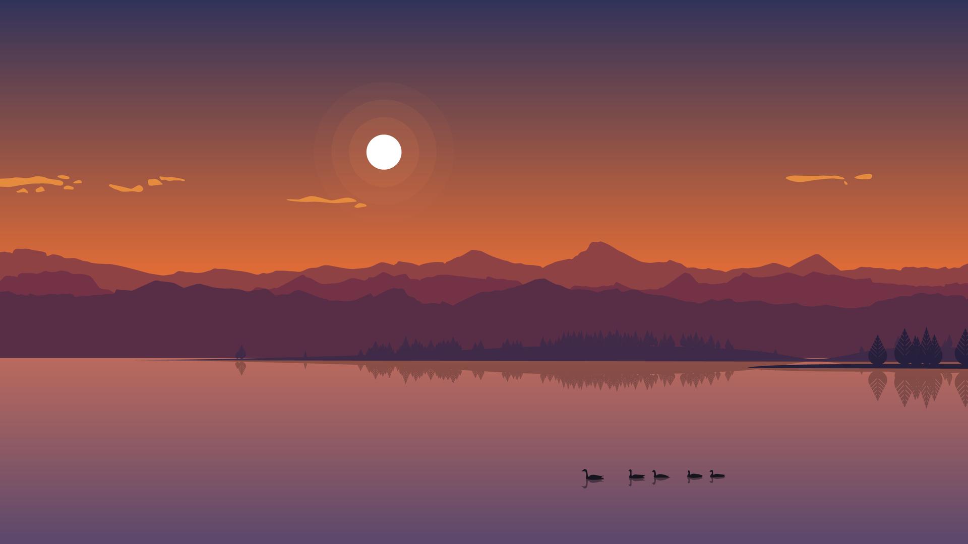 1920x1080 minimal lake sunset laptop full hd 1080p hd 4k for Immagini minimal