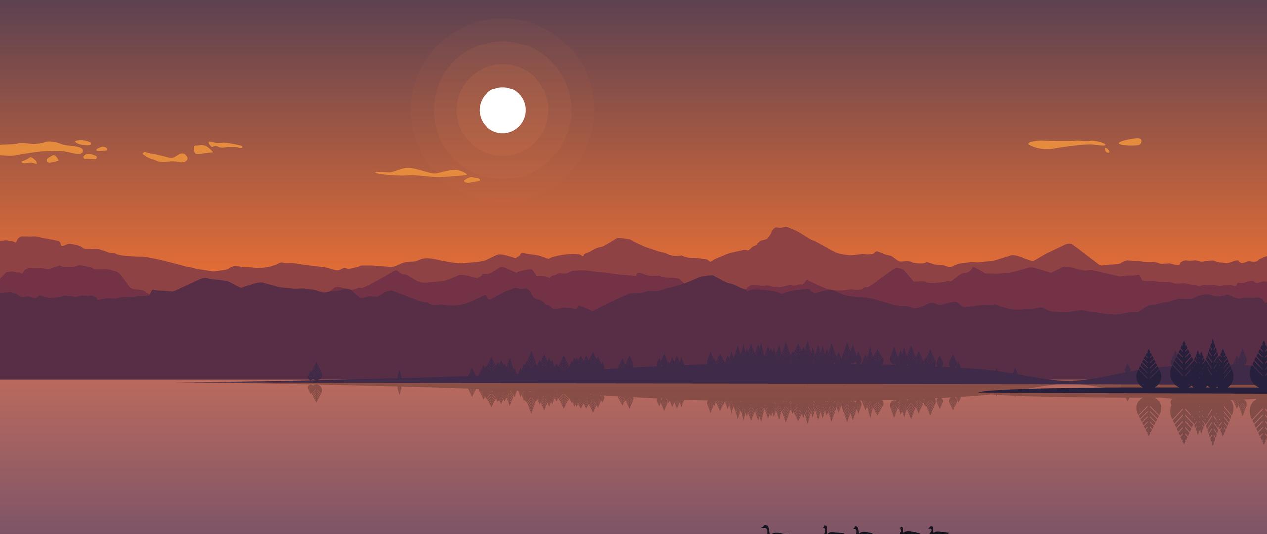 2560x1080 Minimal Lake Sunset 2560x1080 Resolution HD 4k ...