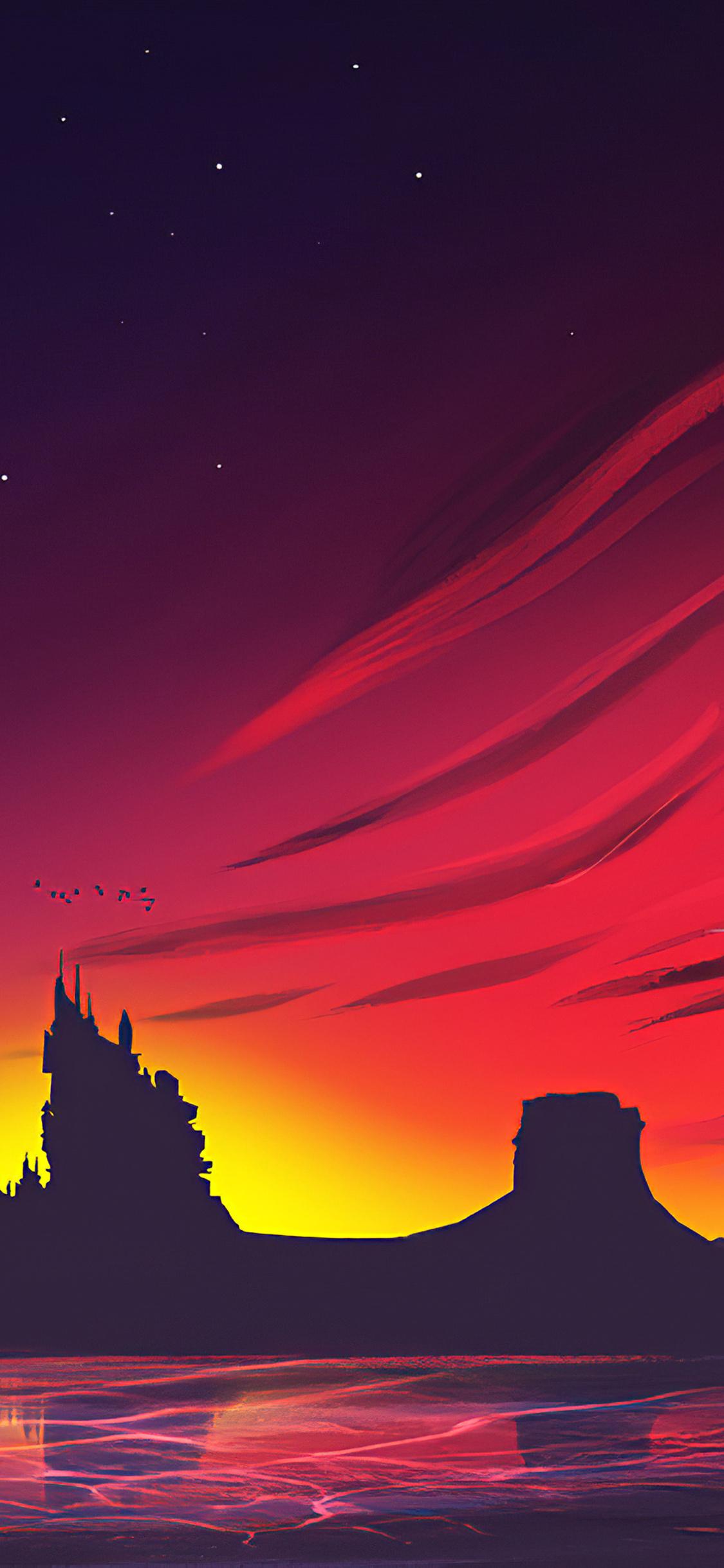 1125x2436 Minimal Sunset Landscape 4k Iphone Xs Iphone 10