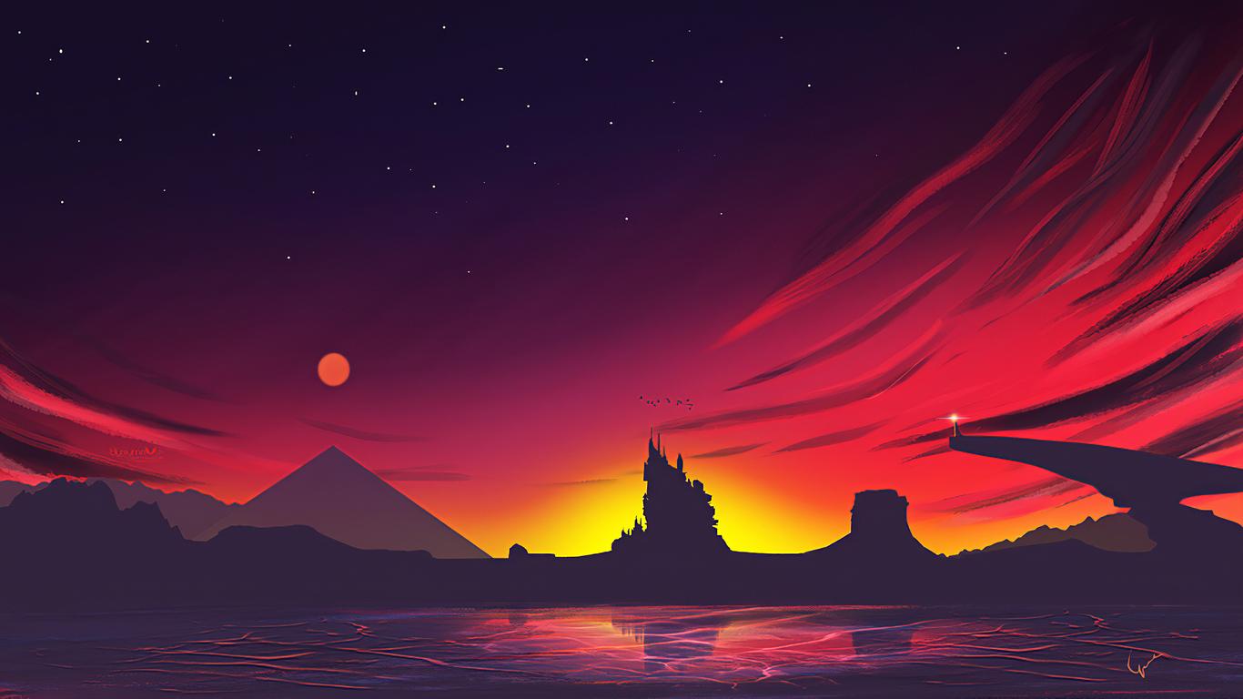 1366x768 Minimal Sunset Landscape 4k 1366x768 Resolution ...