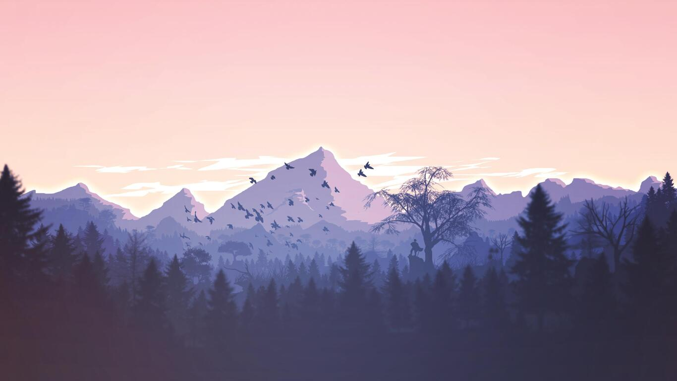 1366x768 Minimalism Birds Mountains Trees Forest 1366x768
