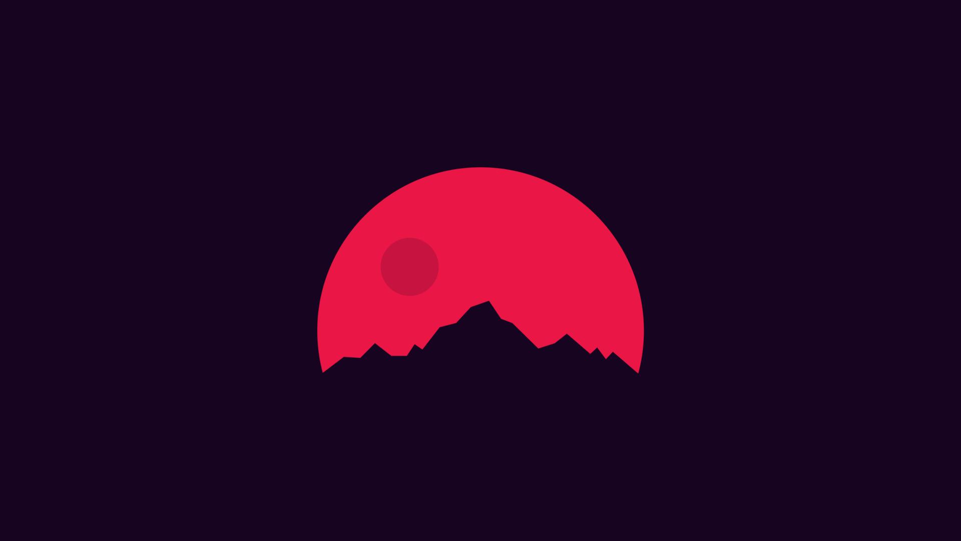 1920x1080 Minimalism Mountains Red Laptop Full Hd 1080p Hd 4k
