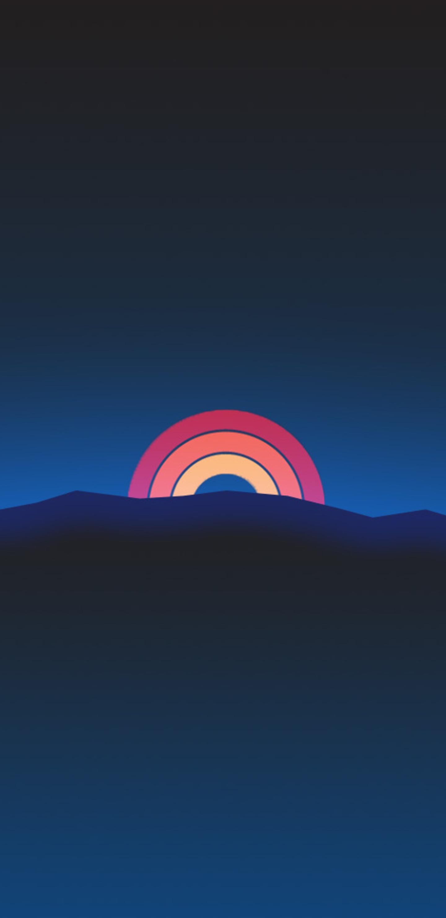 1440x2960 Minimalism Neon Rainbow Sunset Retro Style ...