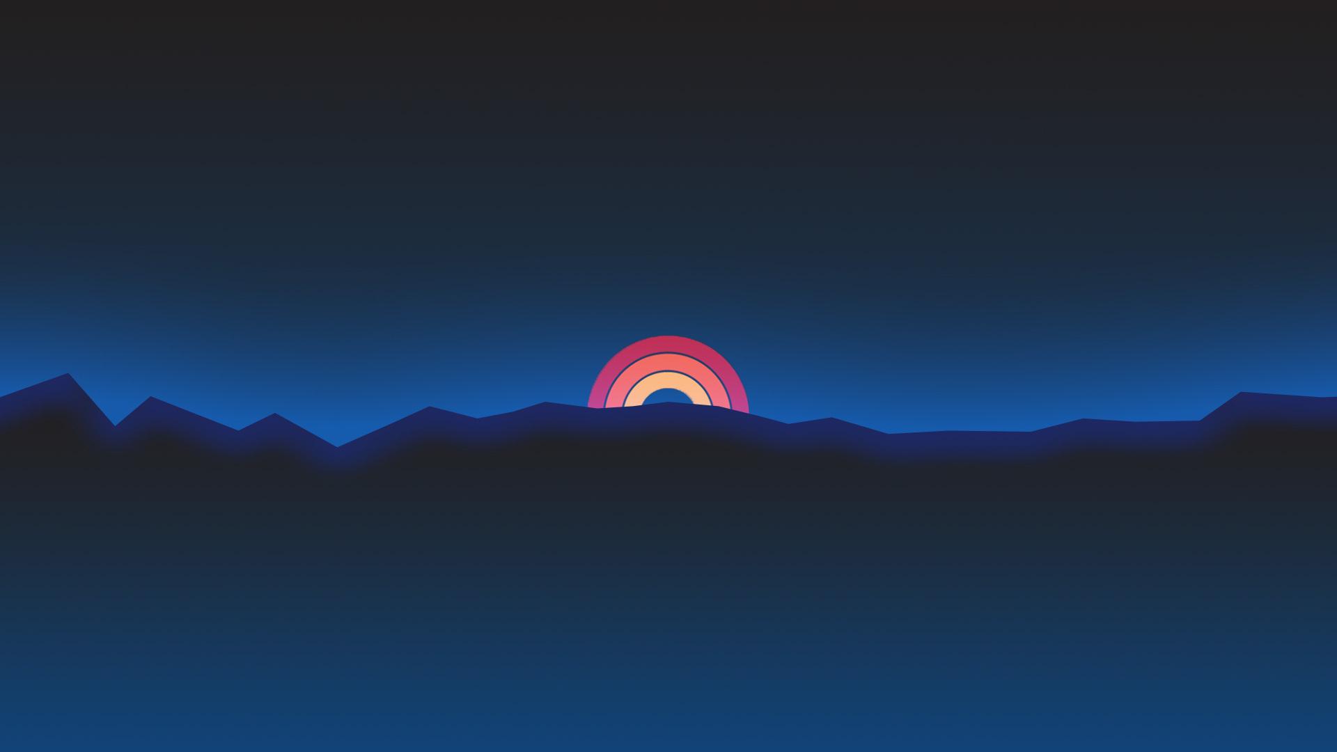 1920x1080 minimalism neon rainbow sunset retro style laptop full hd