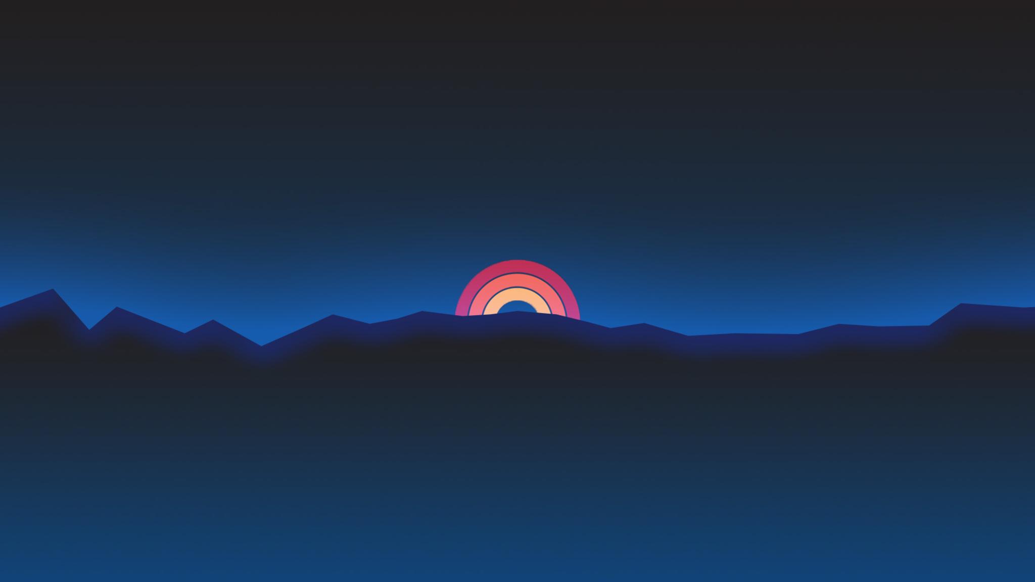 2048x1152 Minimalism Neon Rainbow Sunset Retro Style