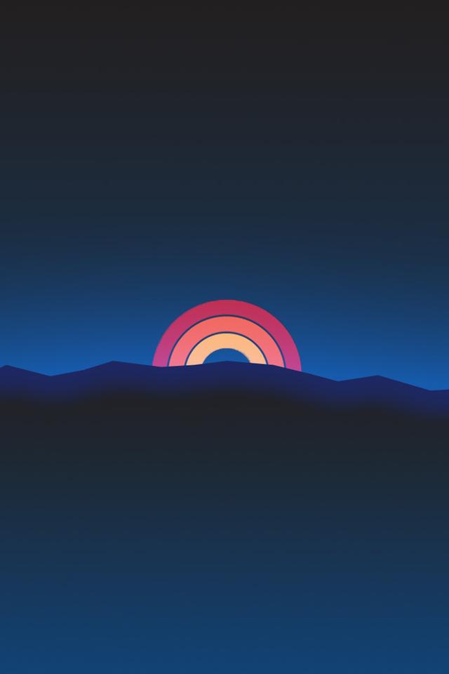 minimalism neon rainbow sunset retro style t2