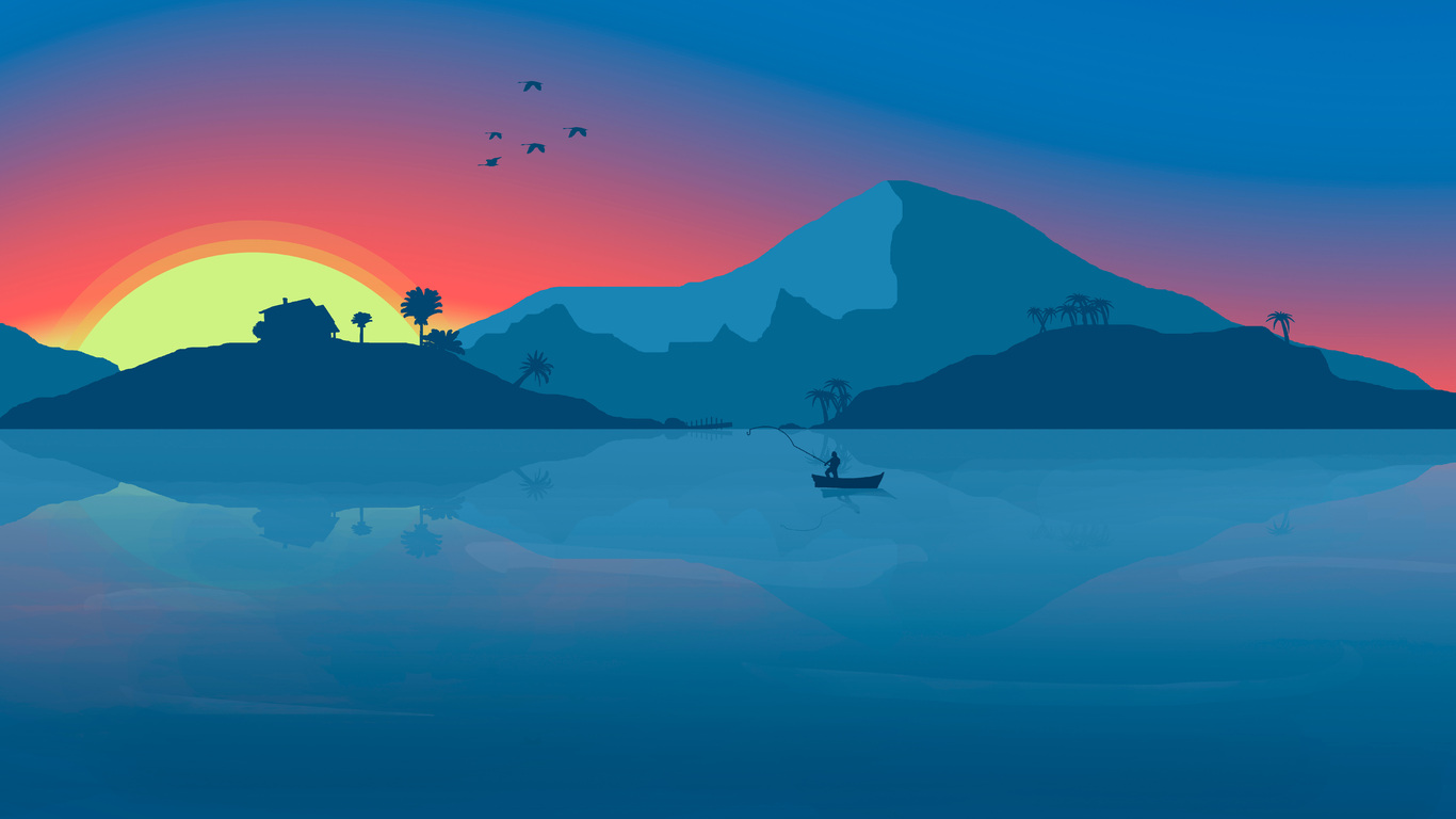 1366x768 Minimalist Beach Boat Mountains Sunset Birds 8k