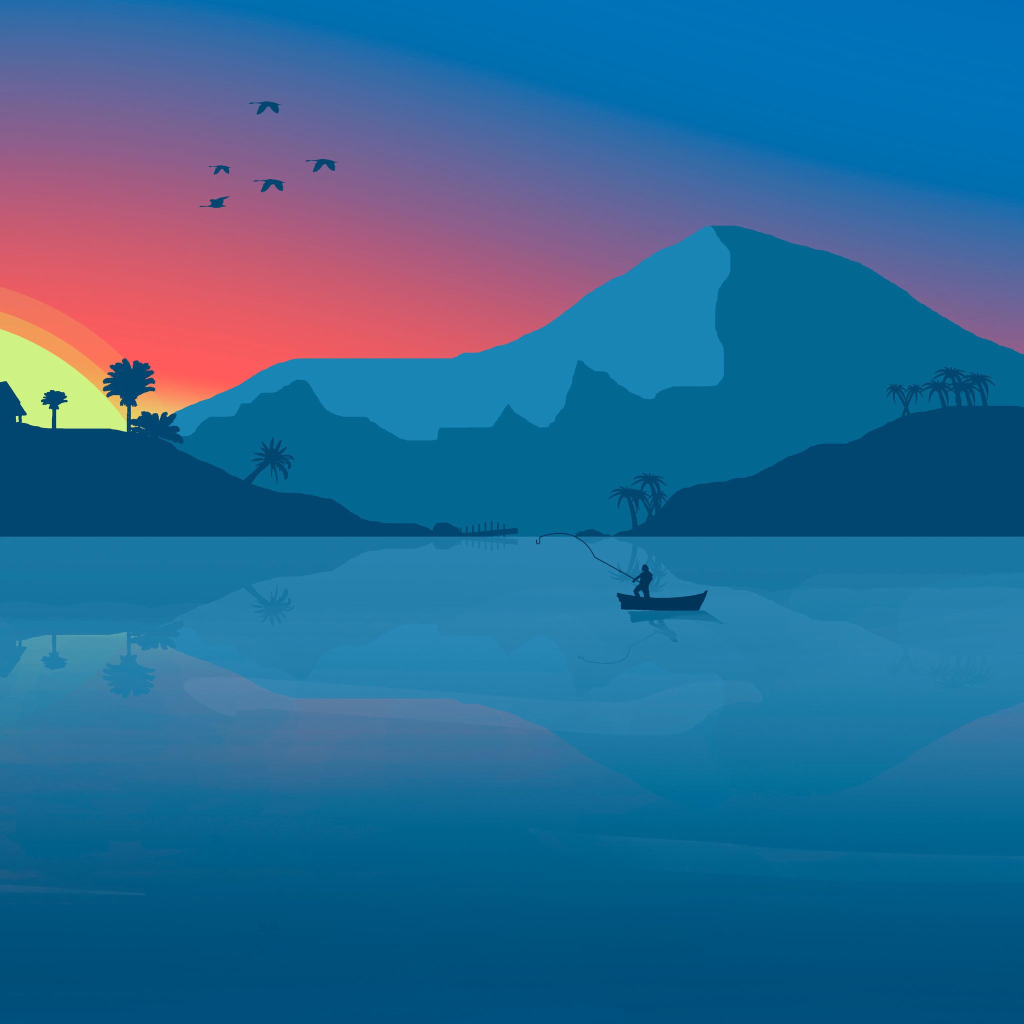2048x2048 Minimalist Beach Boat Mountains Sunset Birds 8k ...