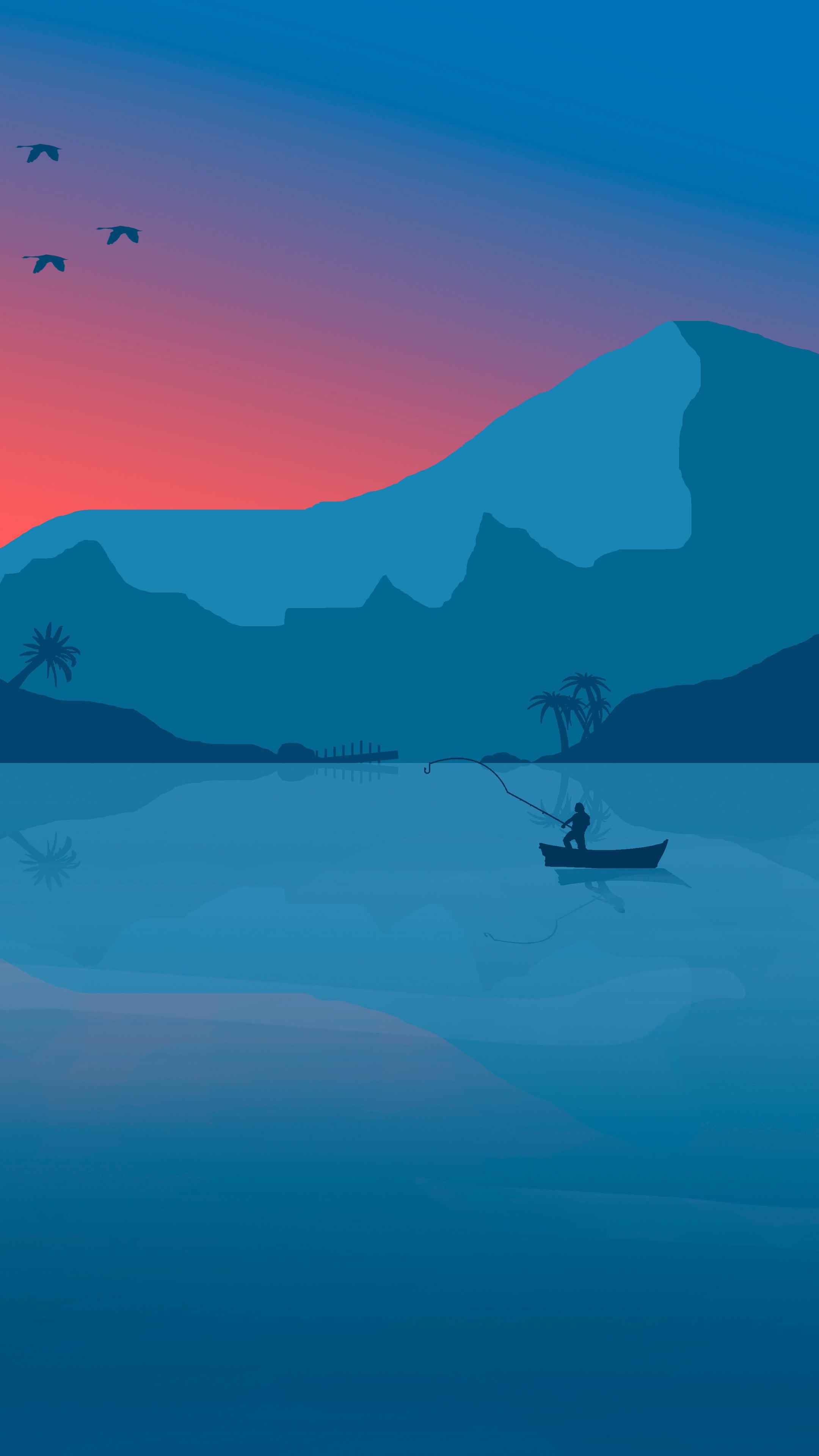 2160x3840 minimalist beach boat mountains sunset birds 8k - 8k minimal wallpaper ...