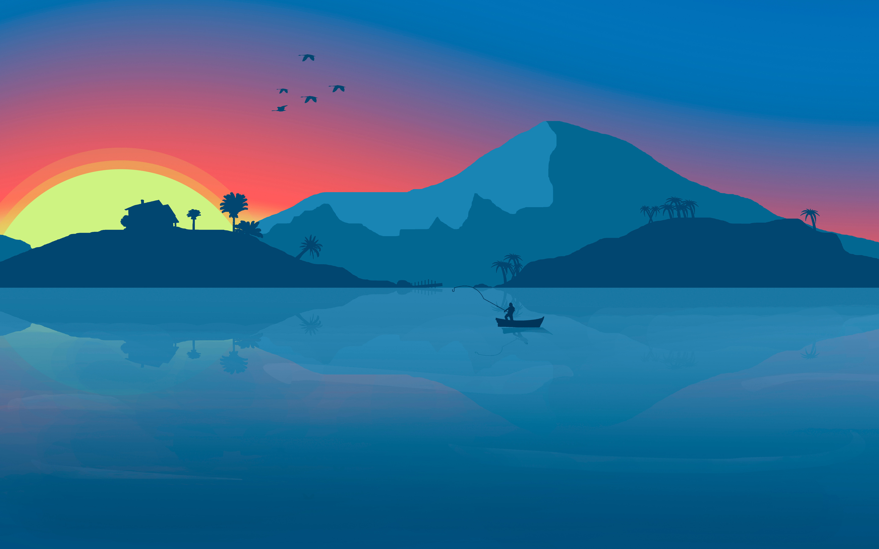 2880x1800 minimalist beach boat mountains sunset birds 8k macbook