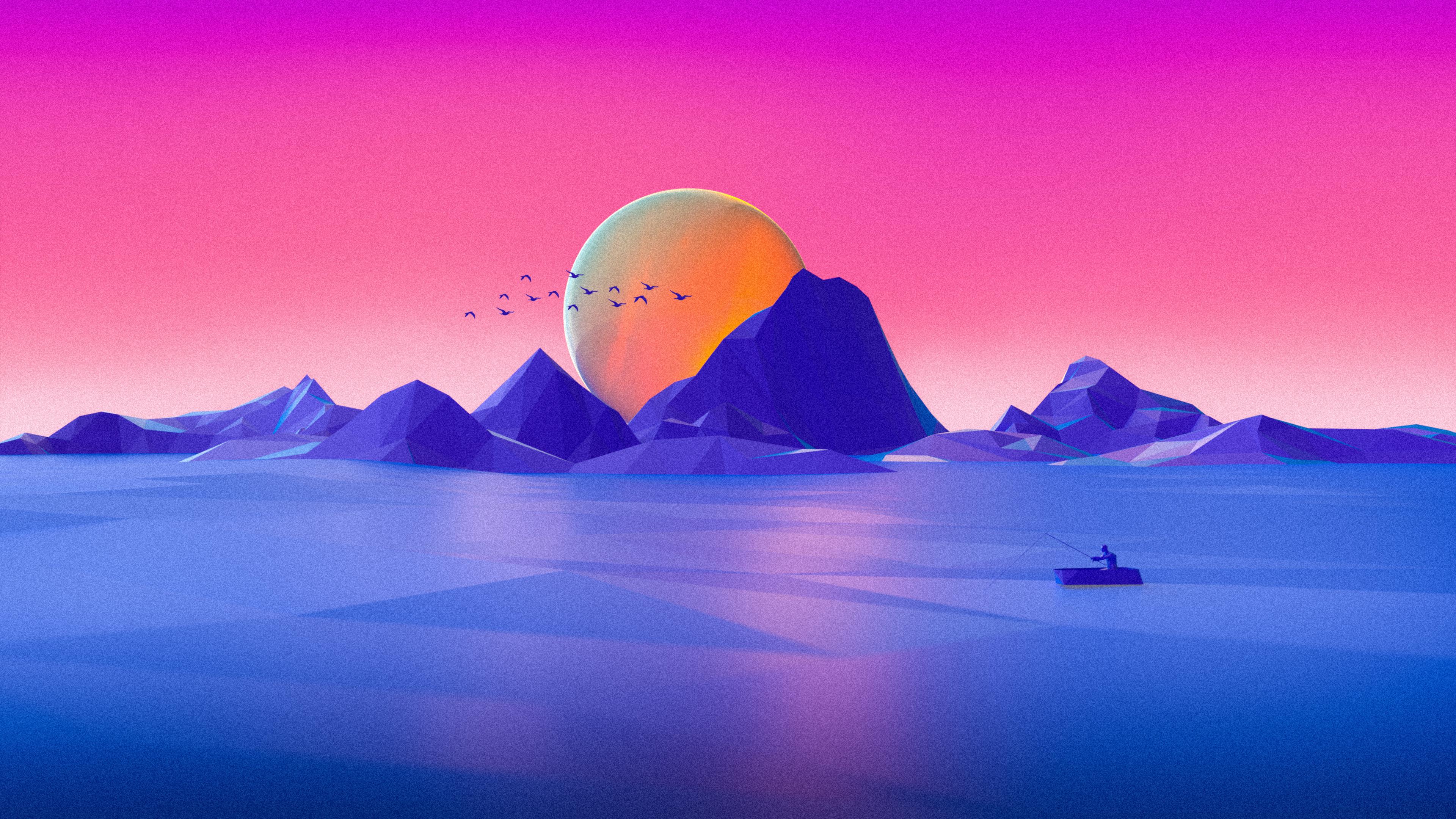 3840x2160 Minimalist Landscape Cgi 4k HD 4k Wallpapers ...