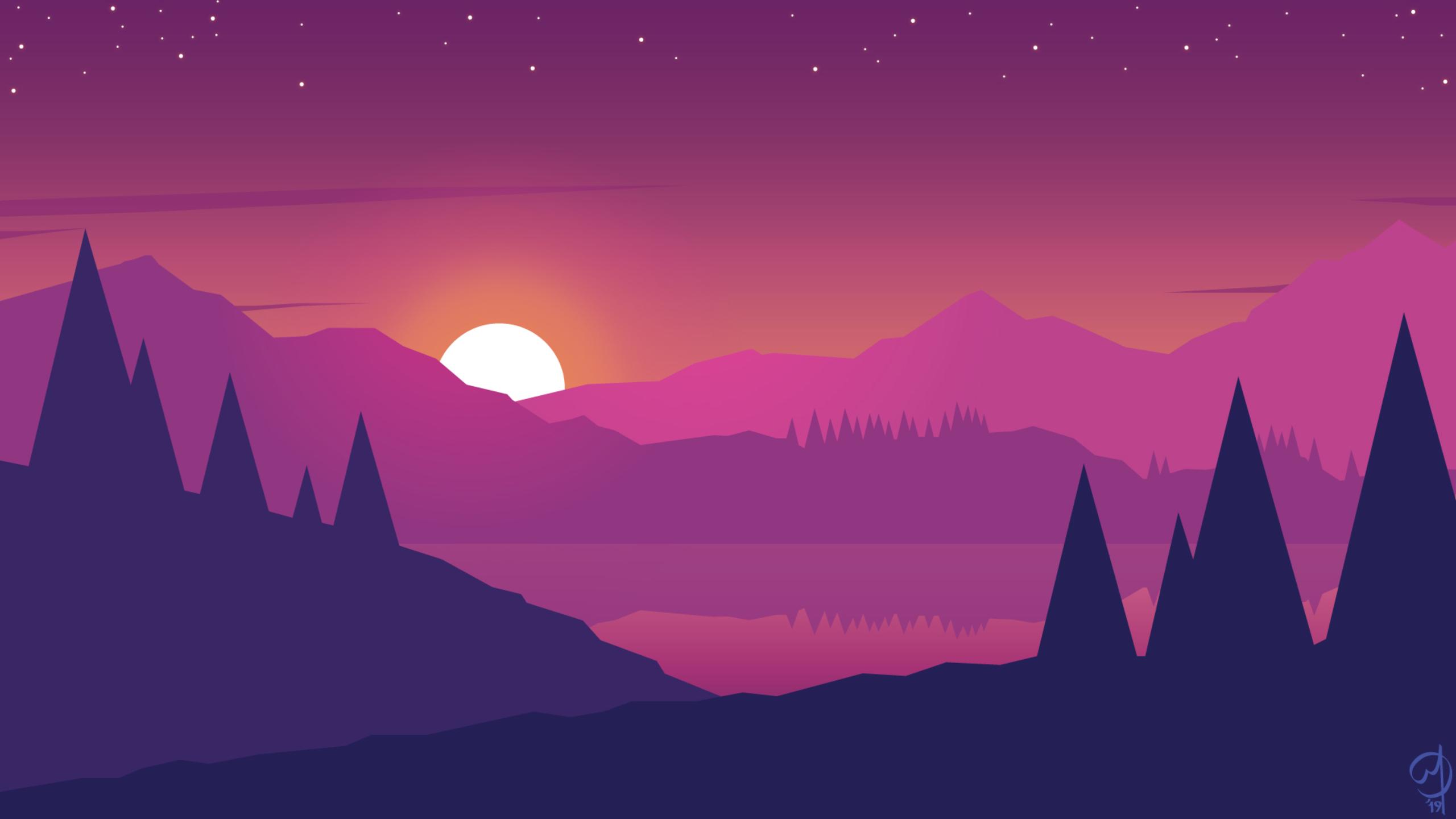 2560x1440 Minimalist Mountains Landscape Scenery 1440P ...