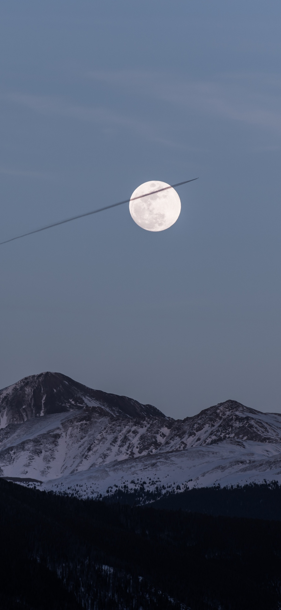 1125x2436 Moon Over Snowy Mountains 5k Iphone Xs Iphone 10 Iphone X