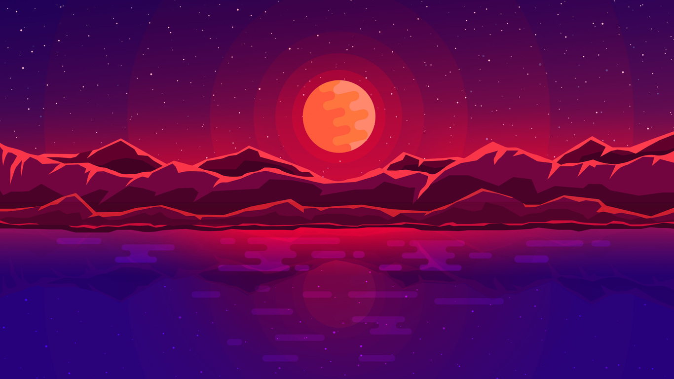 Abstract Art Red Sky Desktop Hd Artworks Desktop: 1366x768 Moon Rays Red Space Sky Abstract Mountains
