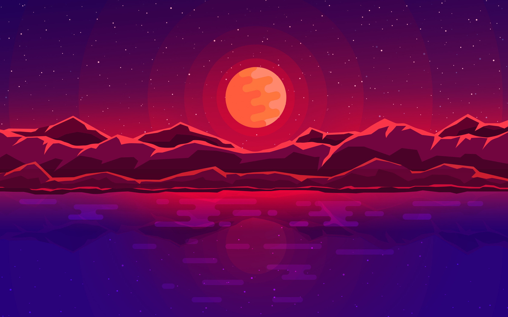 Moon Rays Red Space Sky Abstract Mountains 4c