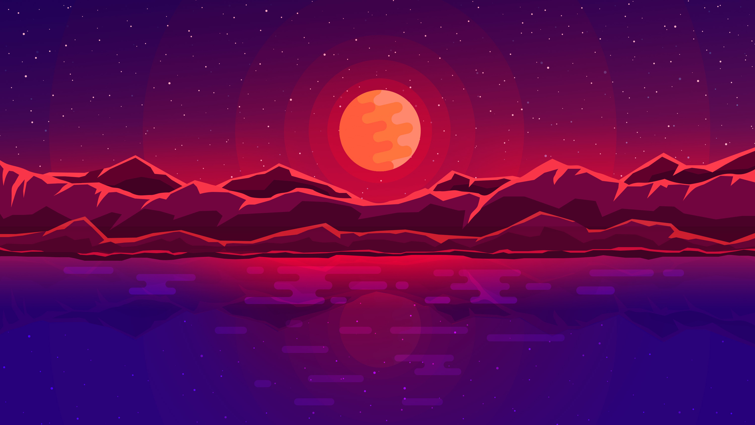 Abstract Art Red Sky Desktop Hd Artworks Desktop: 2560x1440 Moon Rays Red Space Sky Abstract Mountains 1440P