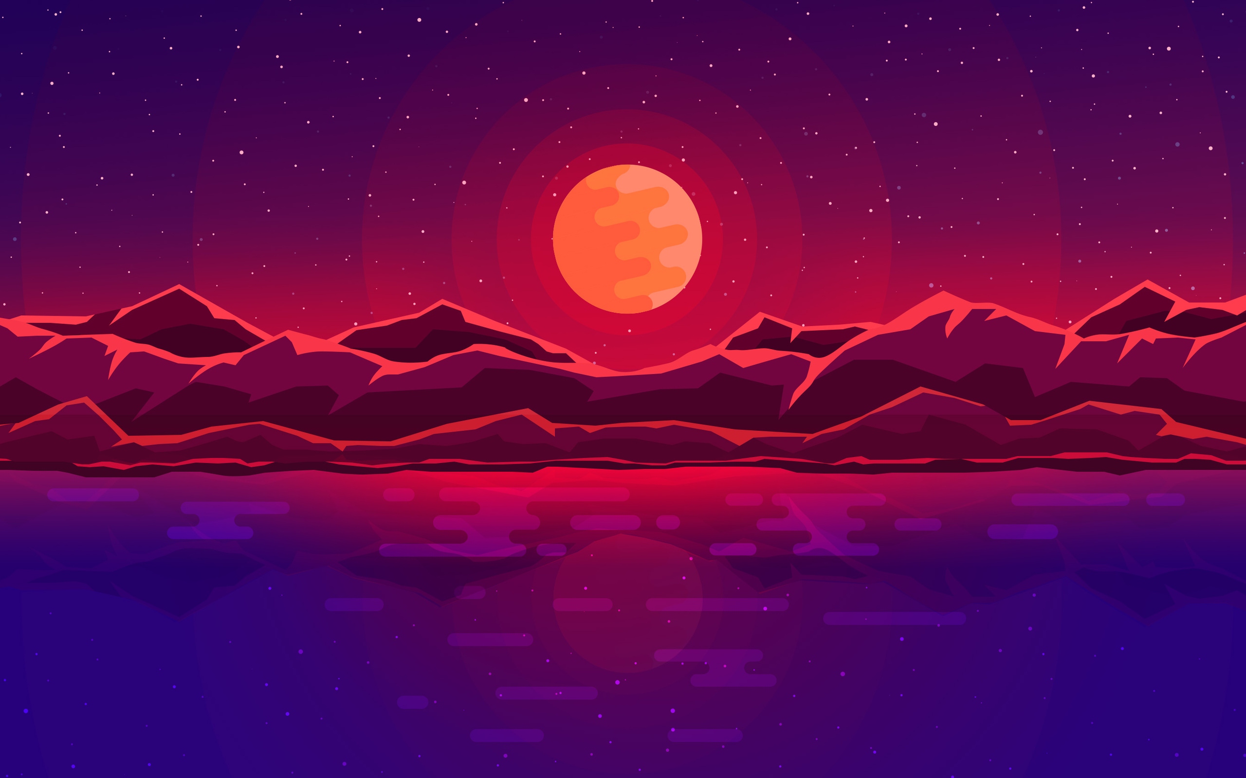 Abstract Art Red Sky Desktop Hd Artworks Desktop: 2560x1600 Moon Rays Red Space Sky Abstract Mountains