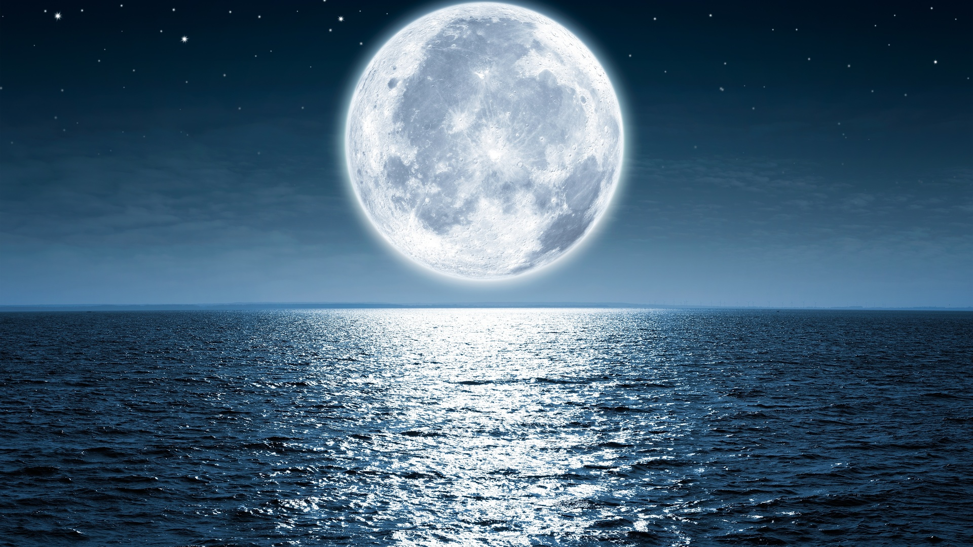 1920x1080 Moon Sea Night 5k Laptop Full Hd 1080p Hd 4k