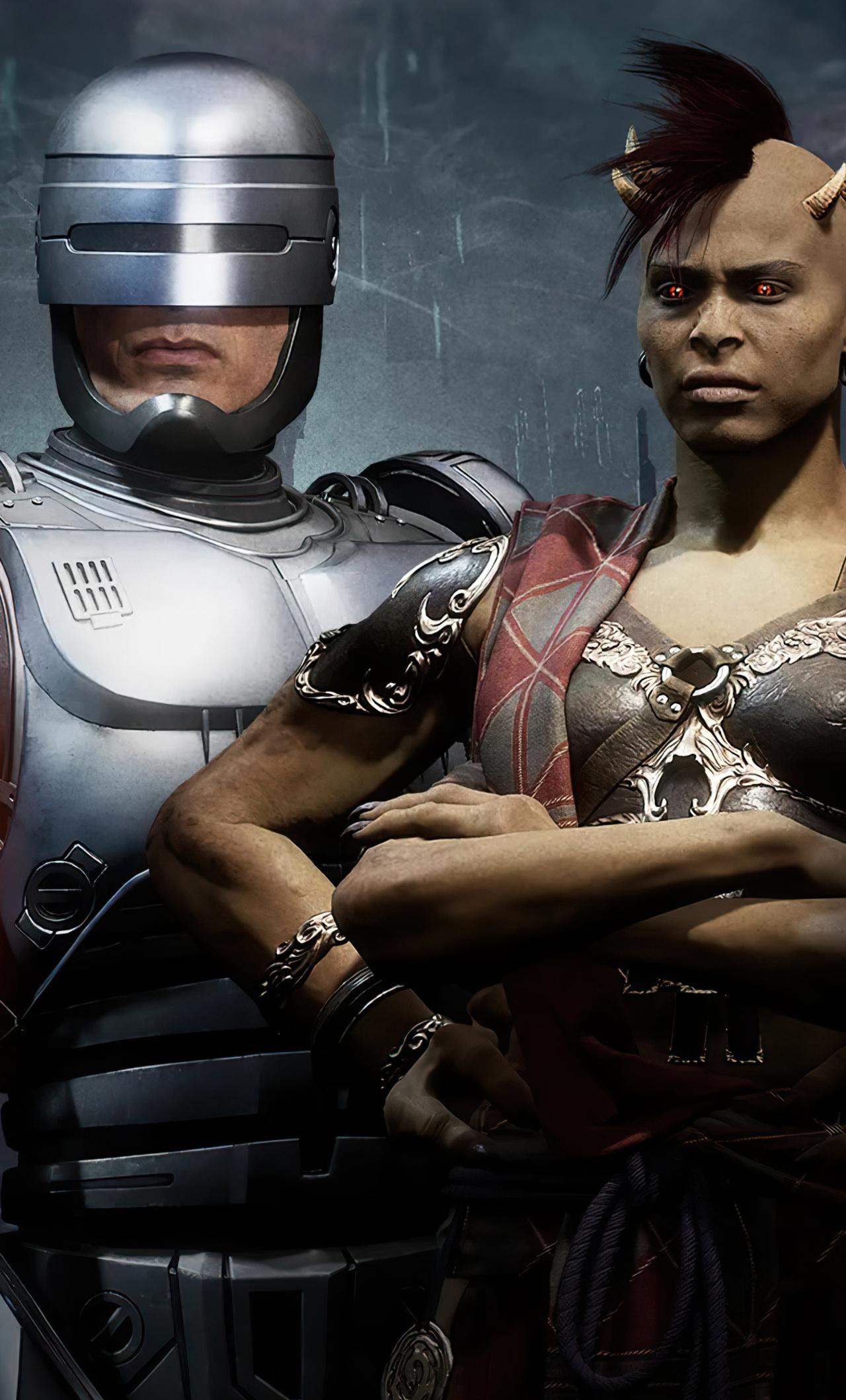 1280x2120 Mortal Kombat 11 Aftermath Fujin Sheeva And Robocop 4k