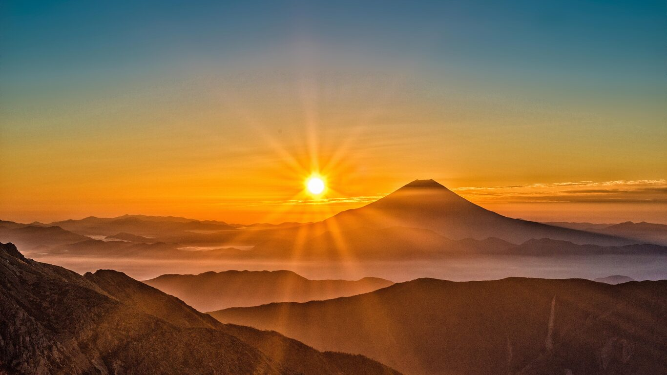 1366x768 Mount Fuji Morning Sun Rising 8k 1366x768 Resolution Hd 4k