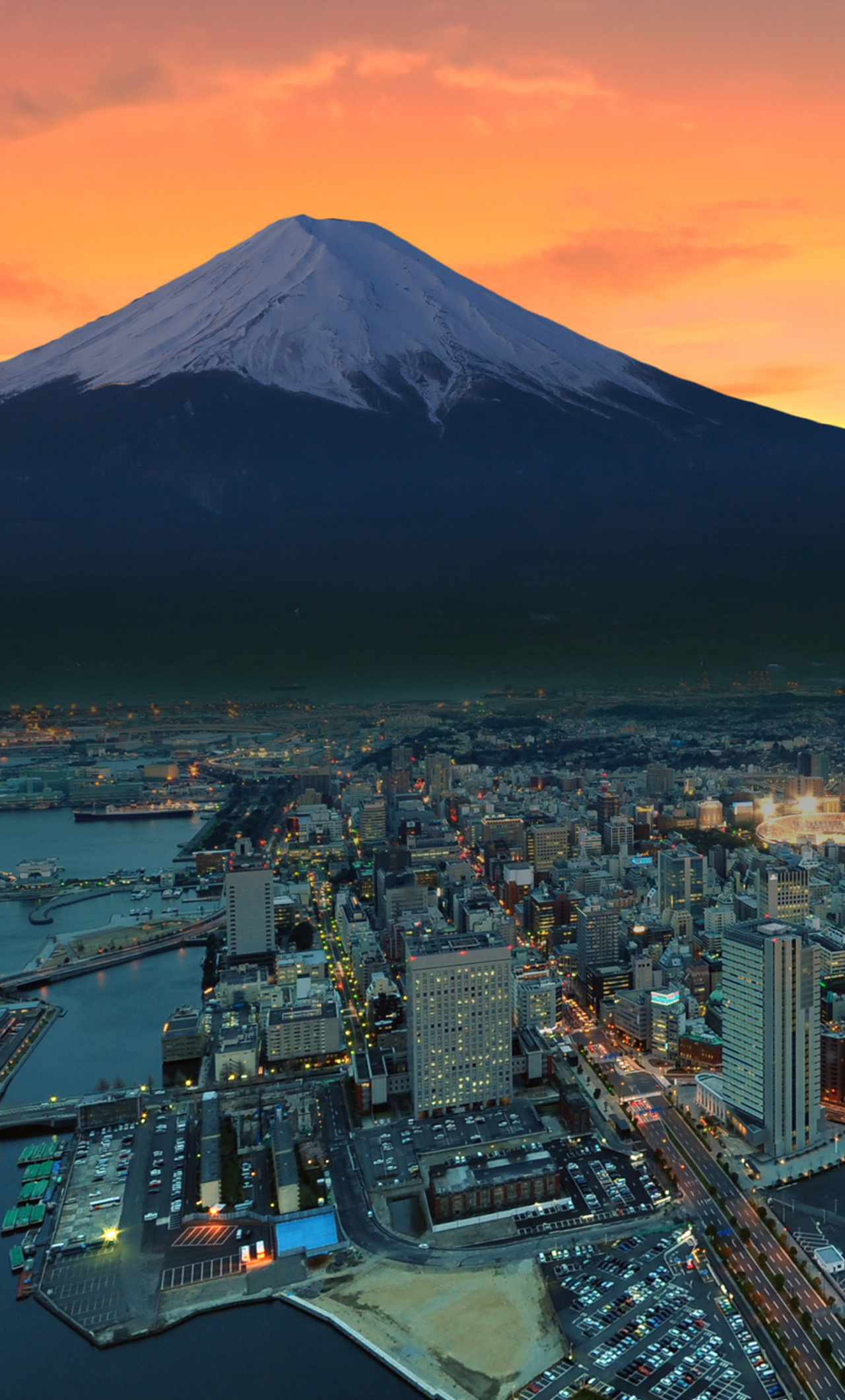 Mount Fuji Snowy Peak Japan Sunset City Ia