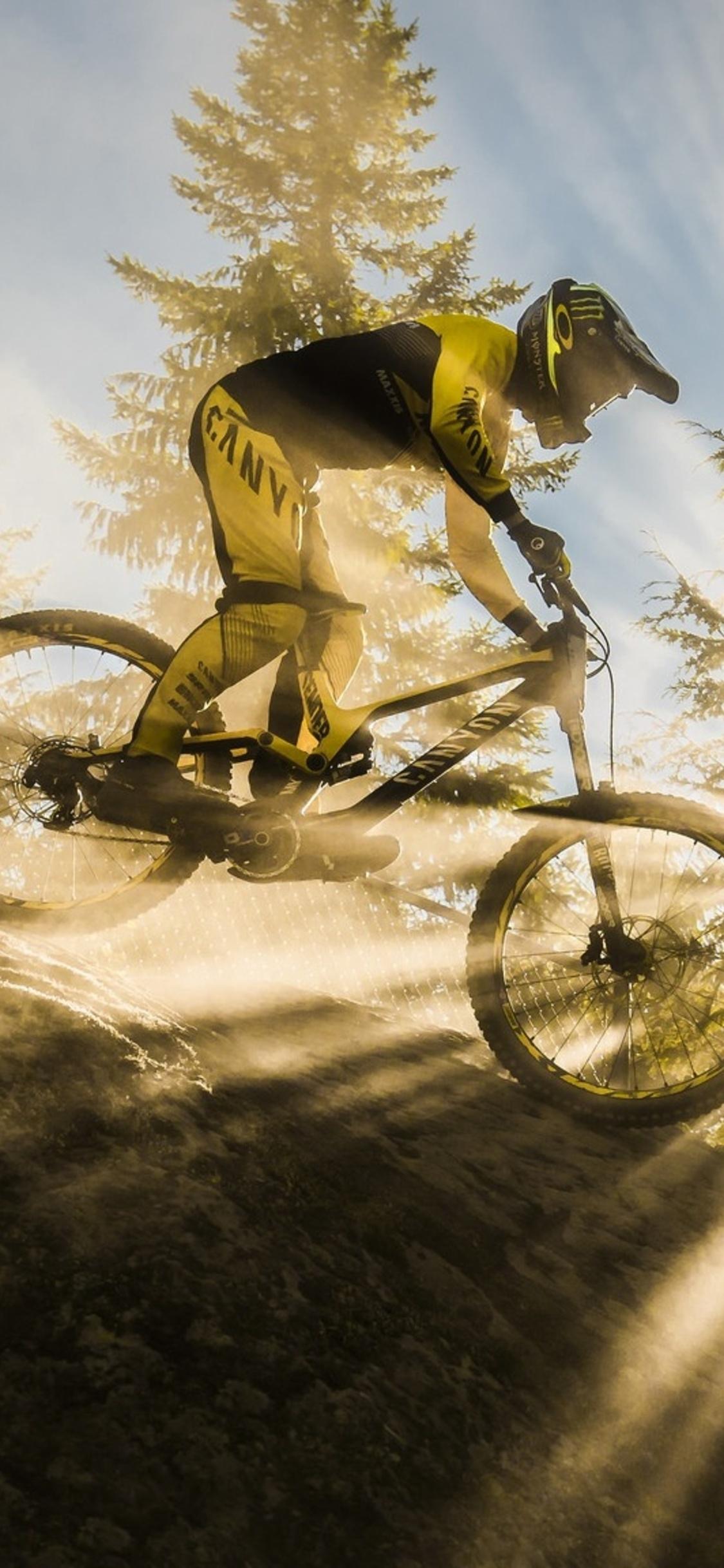 1125x2436 Mountain Bike Sunbeam Iphone Xs Iphone 10 Iphone X Hd 4k