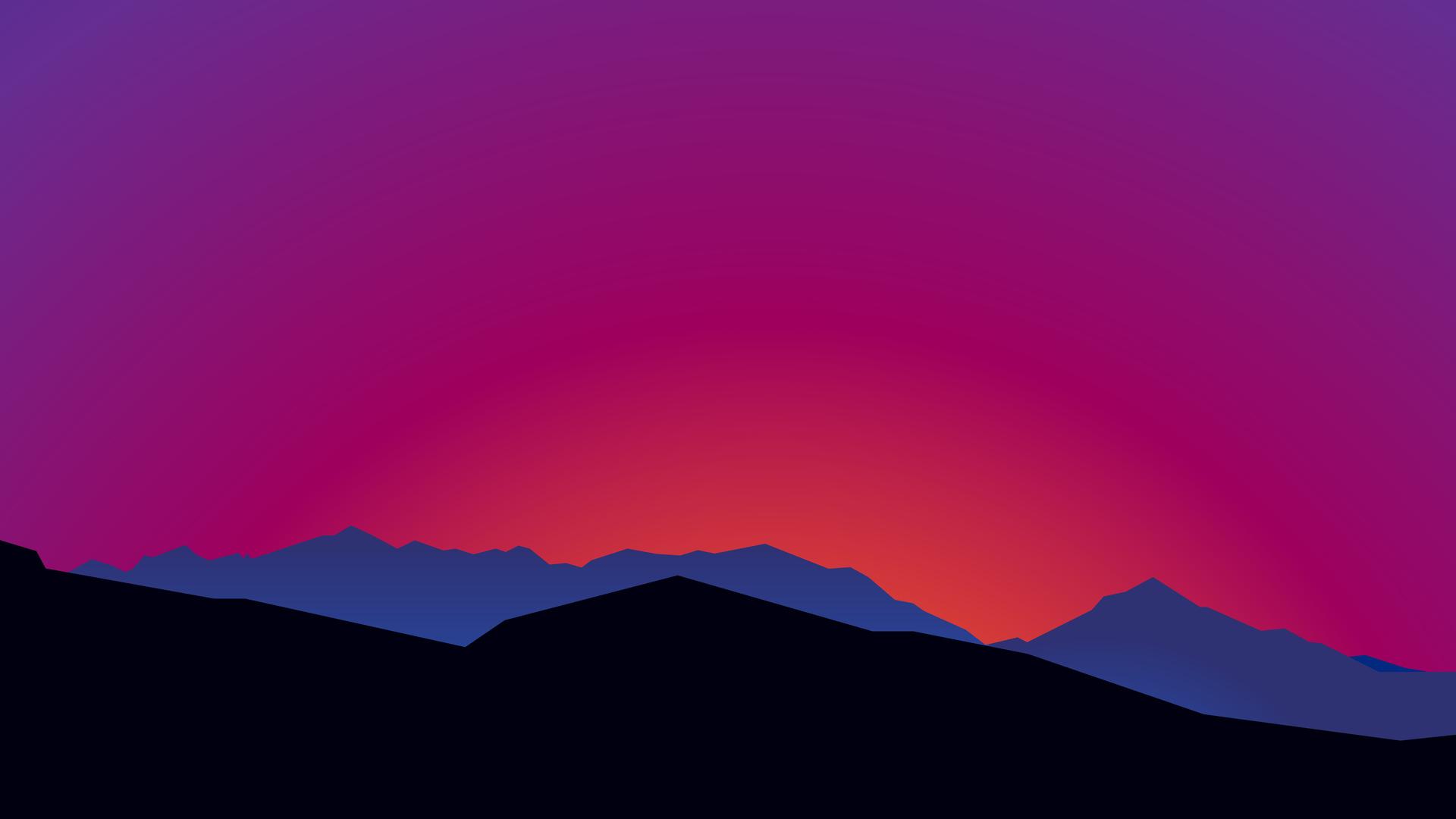 1920x1080 Mountain Landscape Sunset Minimalist 15k Laptop ...