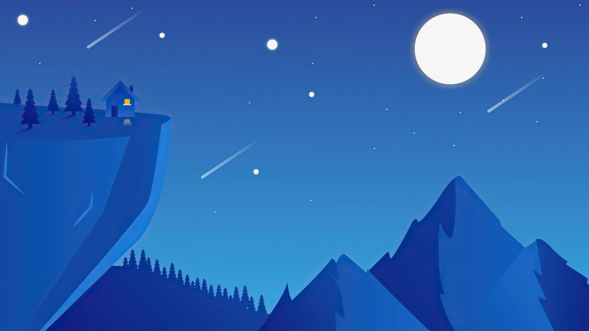 1920x1080 Mountain Space Shooting Stars Minimal 4k Laptop ...