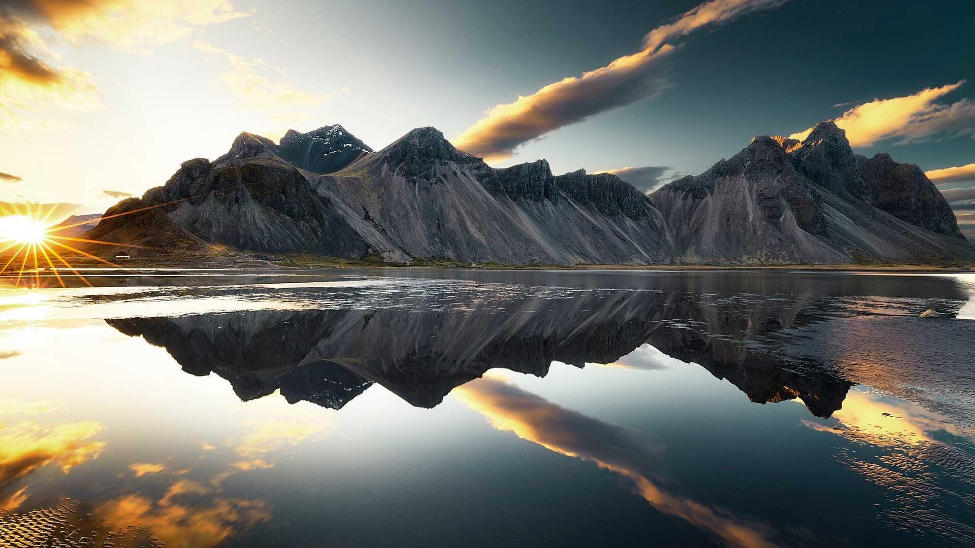 1920x1080 Mountains Clouds Lake Reflection Sun Sky Laptop ...