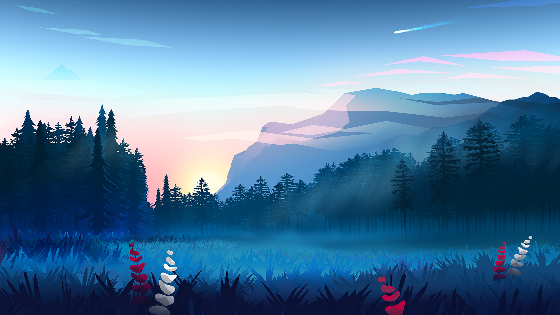 1920x1080 Mountains Digital Art Minimalist Laptop Full HD ...