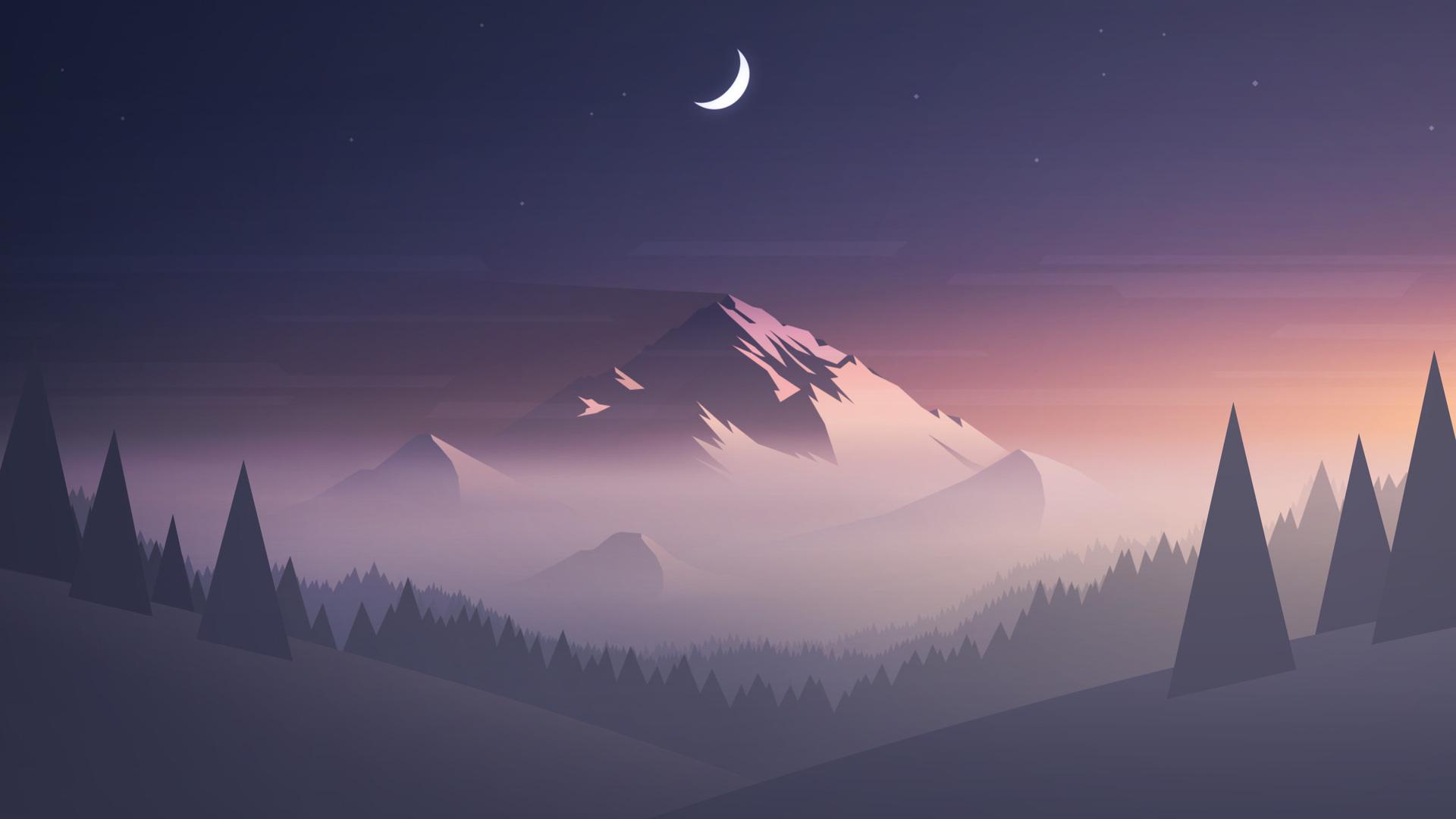 Minimalism Mountain Peak Full Hd Wallpaper: 1920x1080 Mountains Moon Trees Minimalism Laptop Full HD