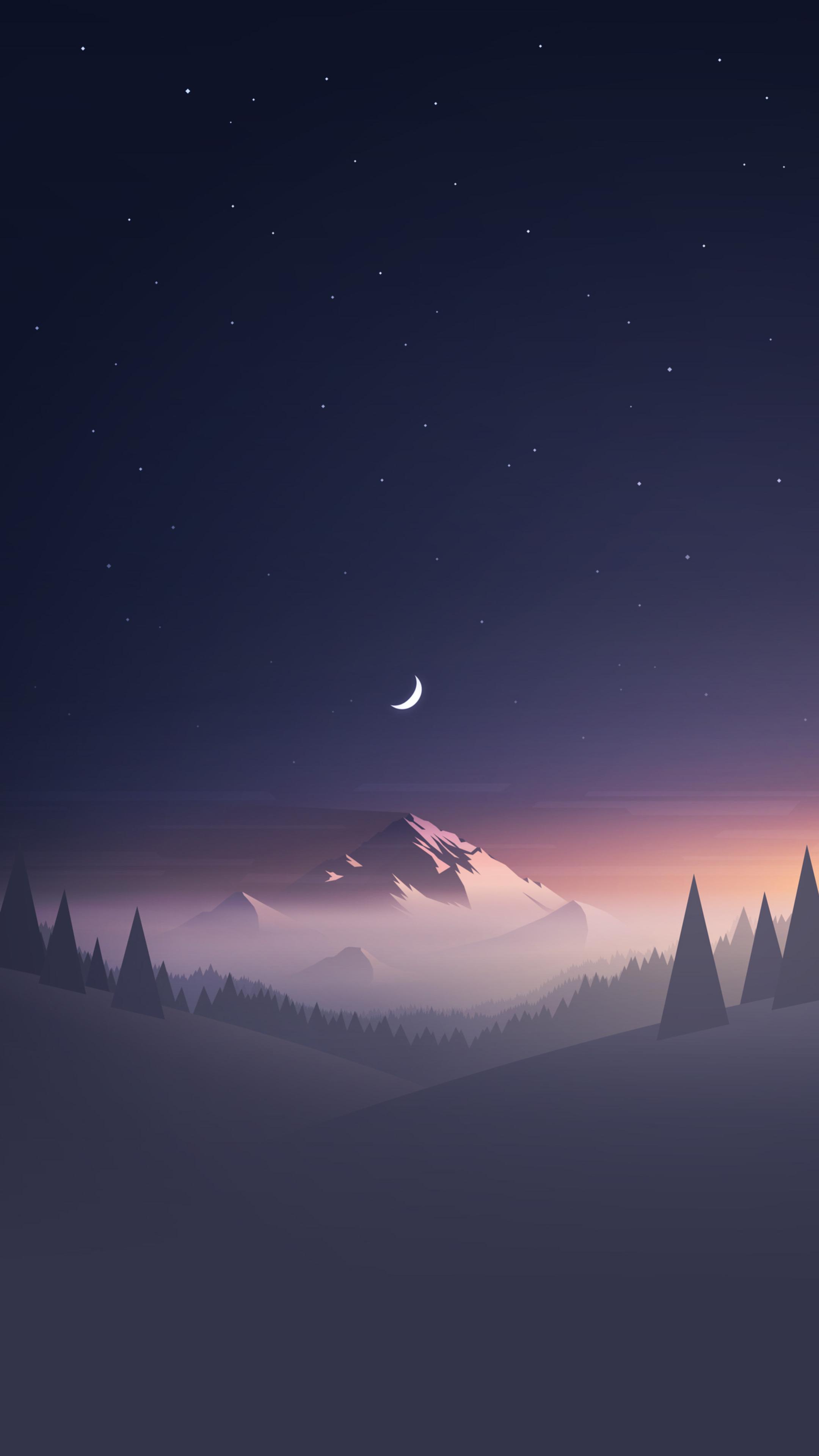 2160x3840 mountains moon trees minimalism sony xperia x xz - Art wallpaper 2160x3840 ...