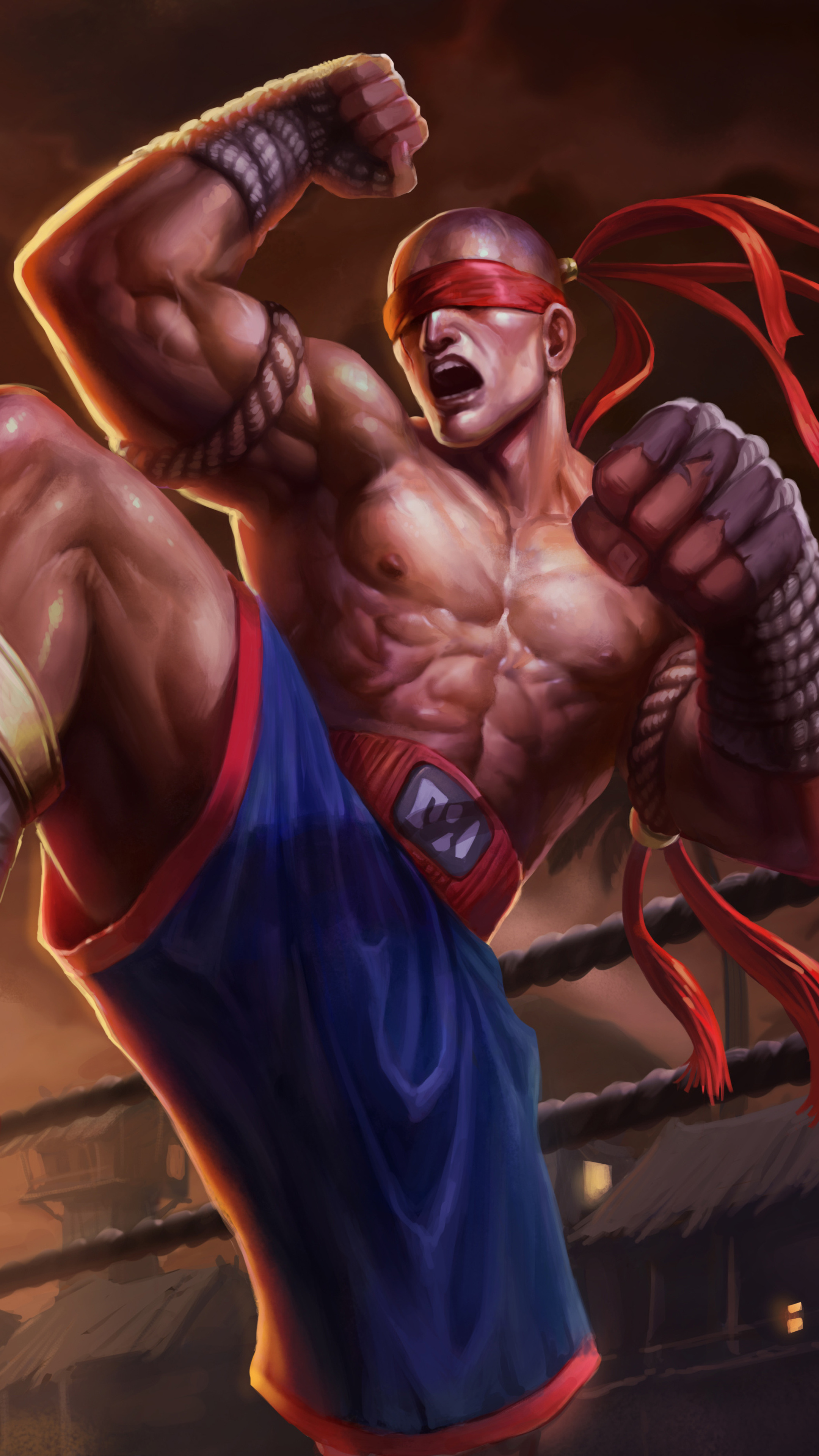 2160x3840 Muay Thai Lee Sin Splash Art 5k Sony Xperia X Xz Z5
