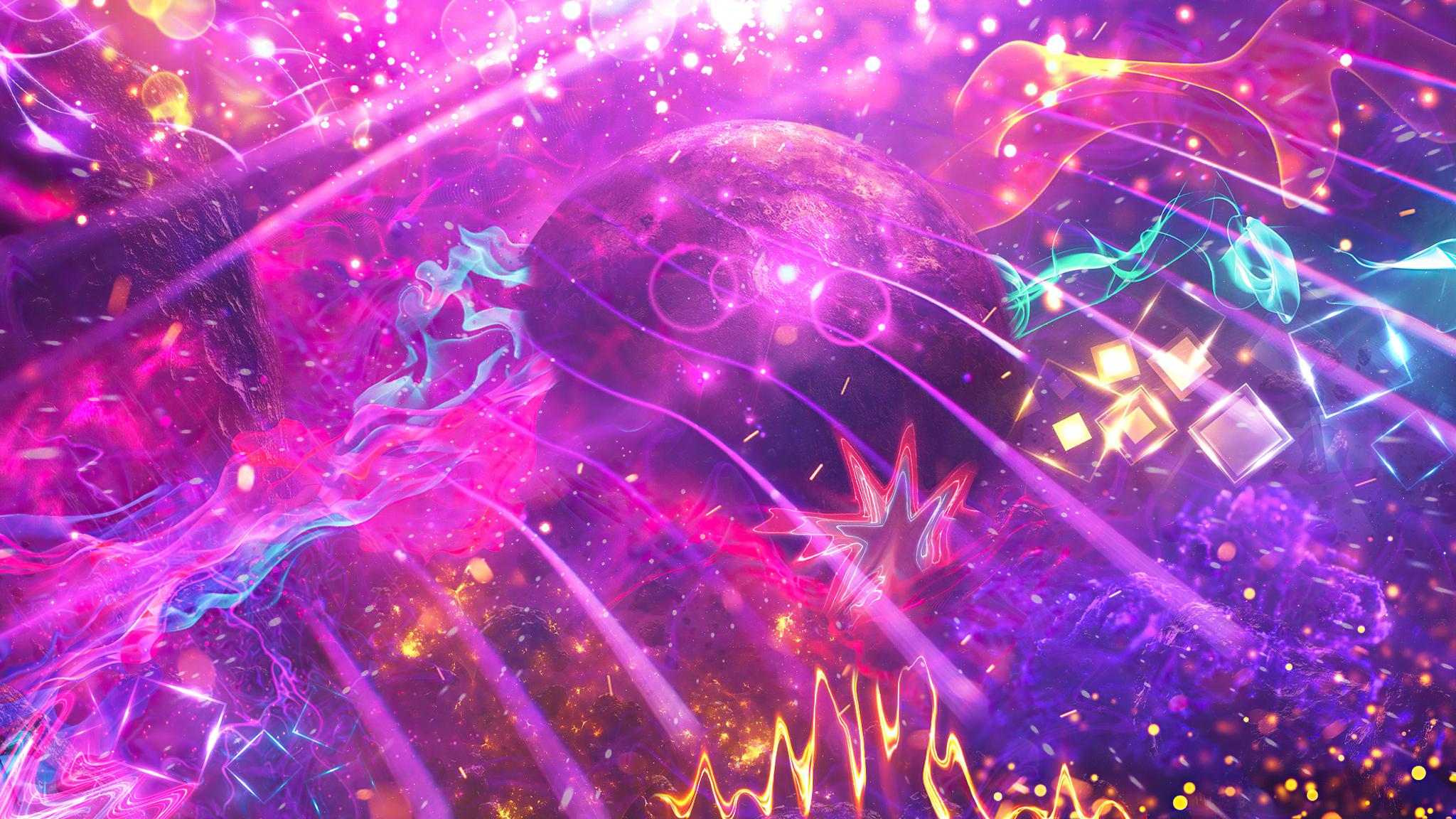 2048x1152 Nebula Neon Colors Fractal ...