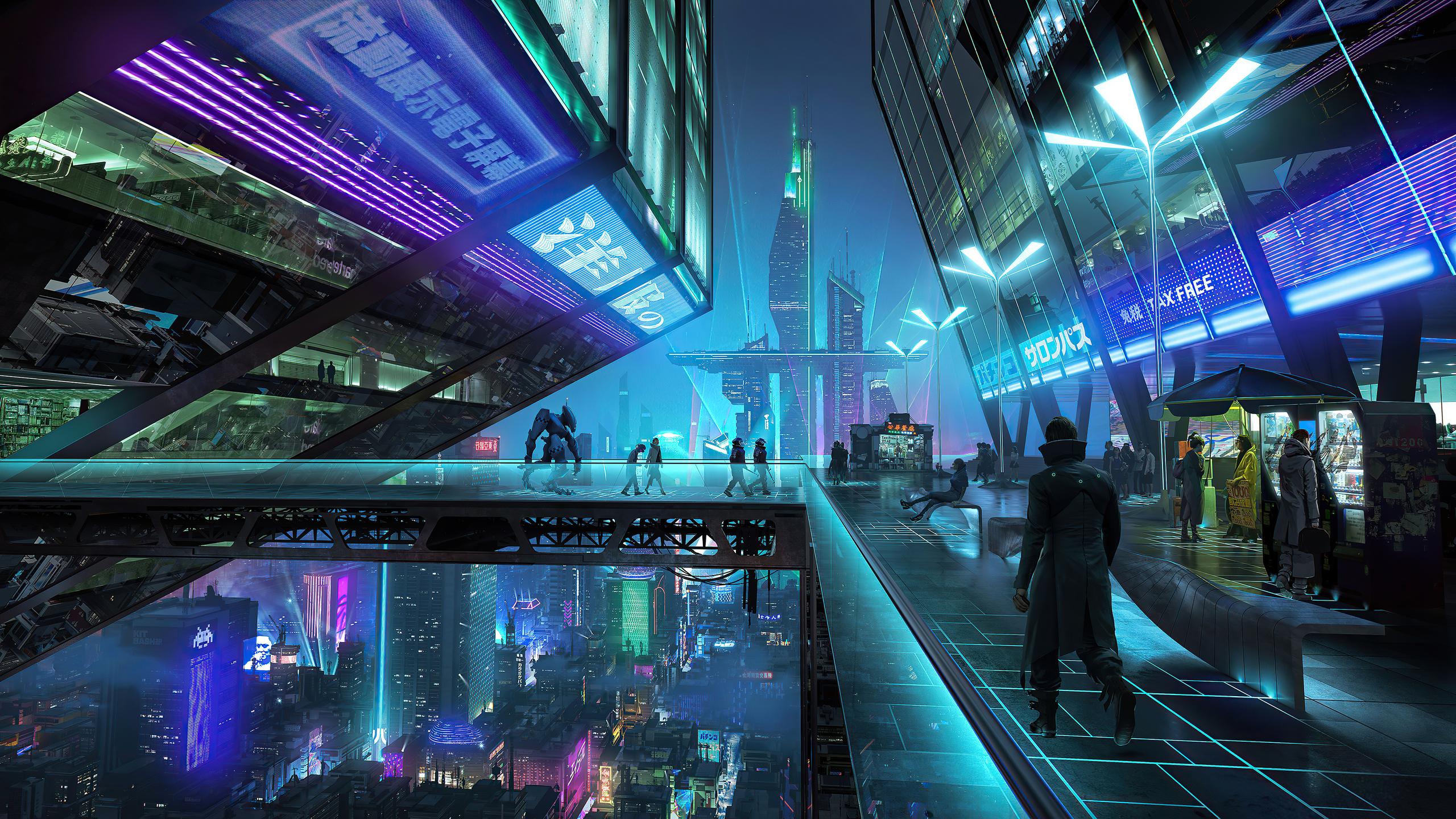 2560x1440 Neon City Night 4k 1440P Resolution HD 4k ...
