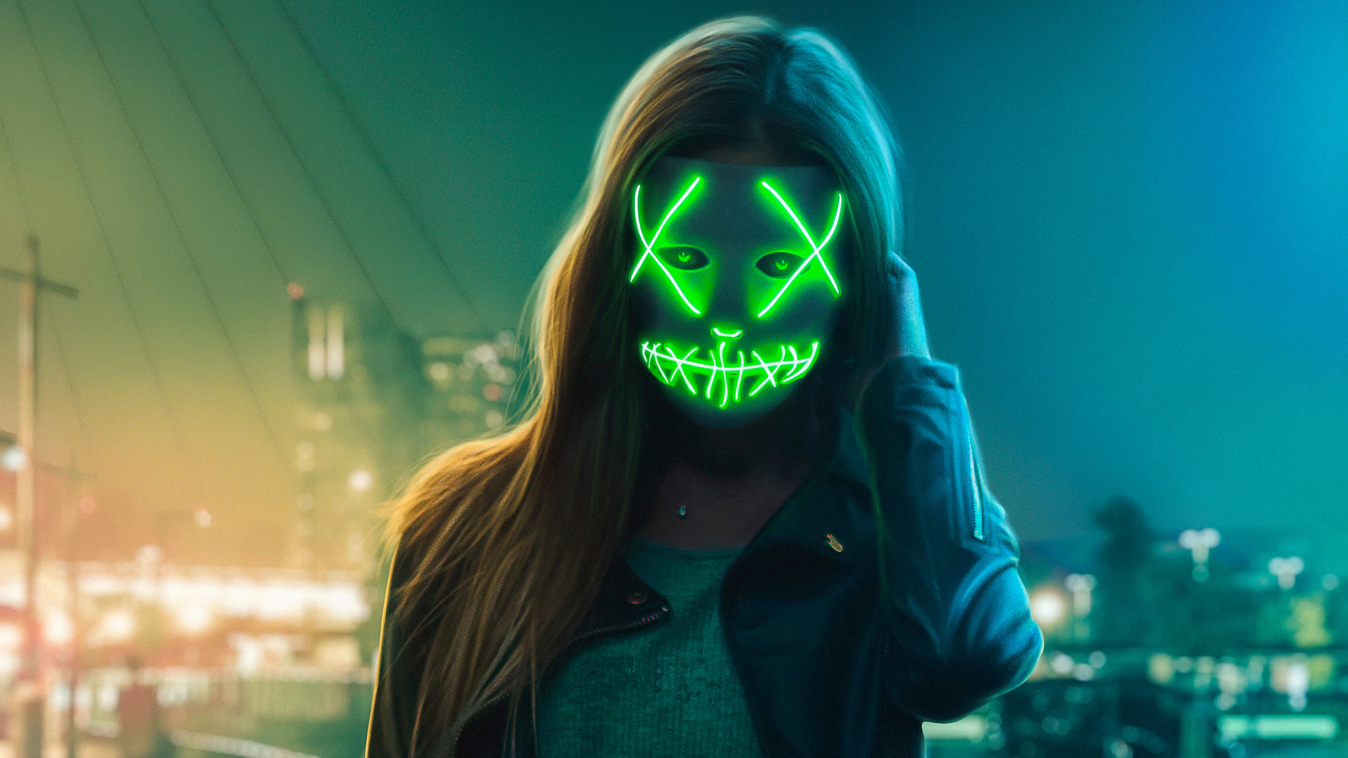1920x1080 Neon Eye Mask Girl Laptop Full Hd 1080p Hd 4k