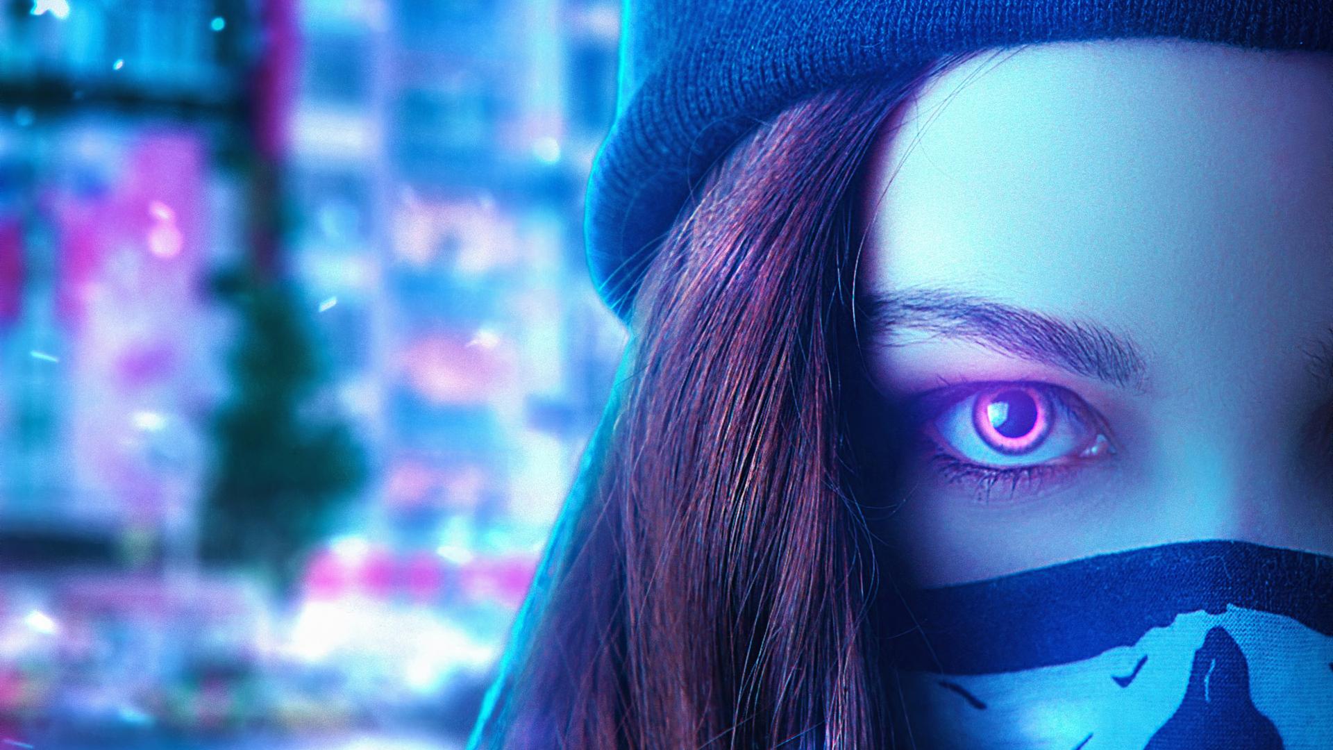 1920x1080 Neon Eyes Girl 4k Laptop Full HD 1080P HD 4k ...