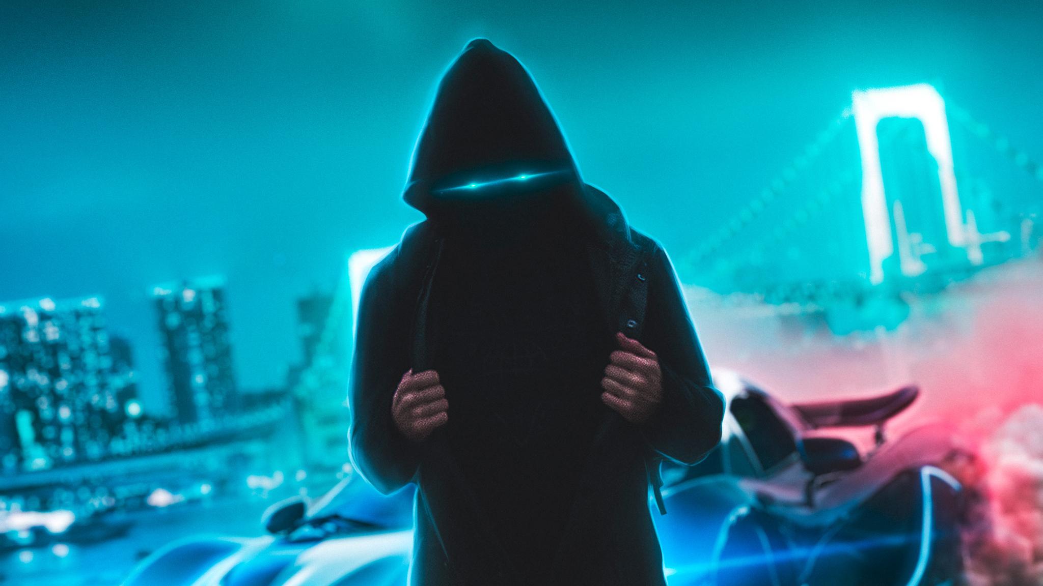 2048x1152 Neon Eyes Hoodie Guy With Sport Car 2048x1152