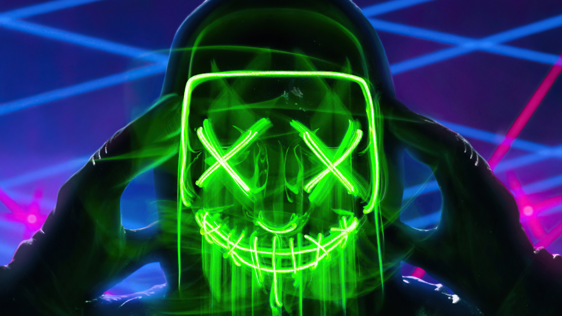 1920x1080 Neon Green Mask Triangle Guy 4k Laptop Full HD ...