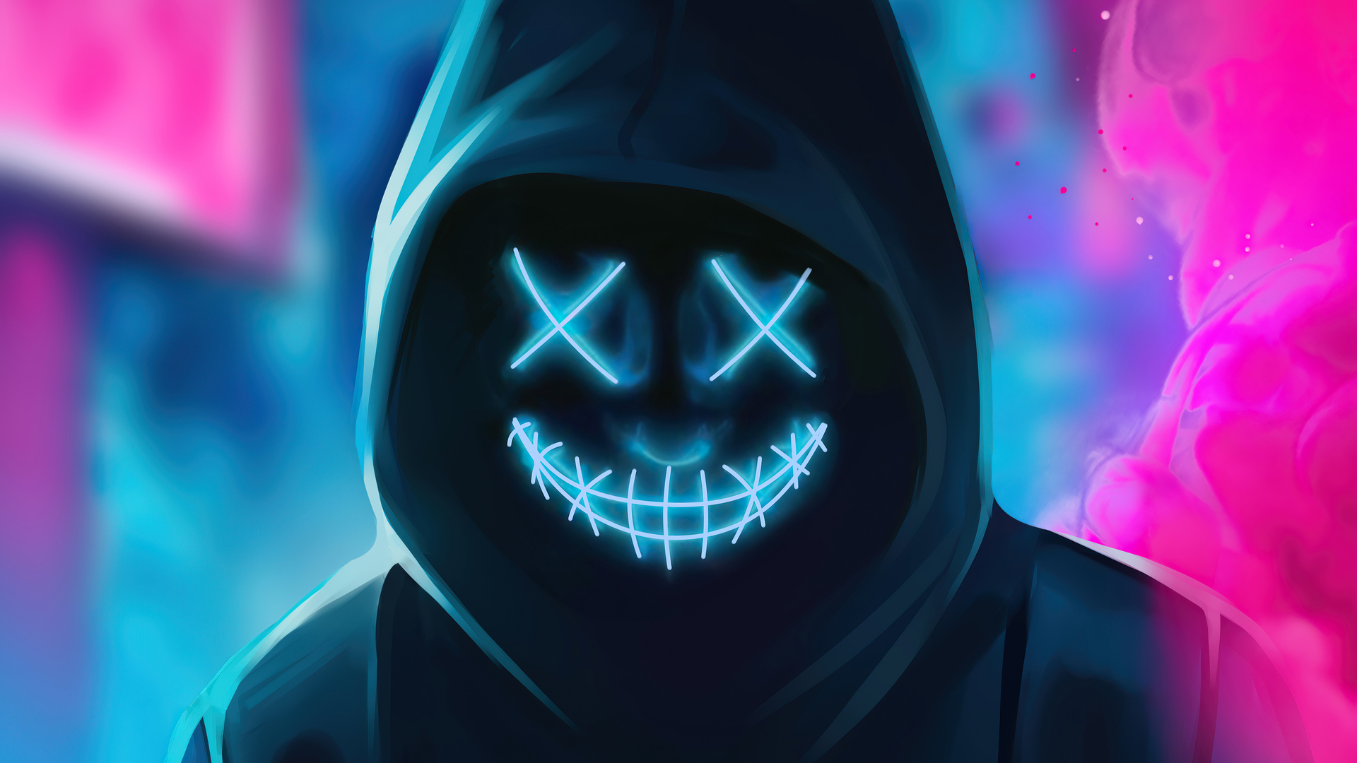 1920x1080 Neon Guy Mask Smiling 4k Laptop Full HD 1080P HD ...