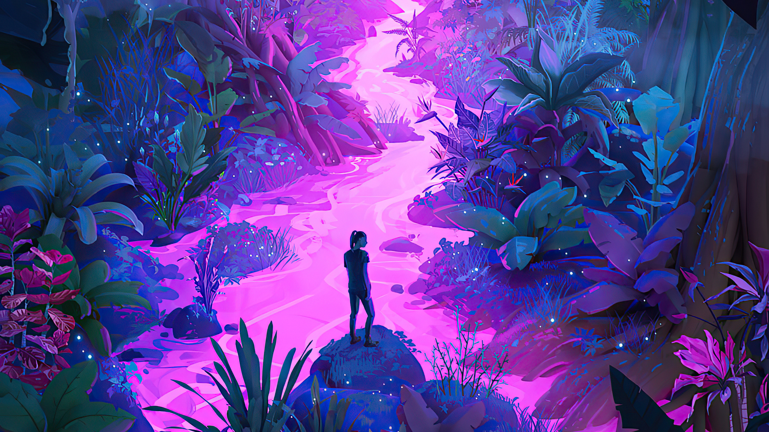 2560x1440 Neon Jungle Art 4k 1440P Resolution HD 4k ...