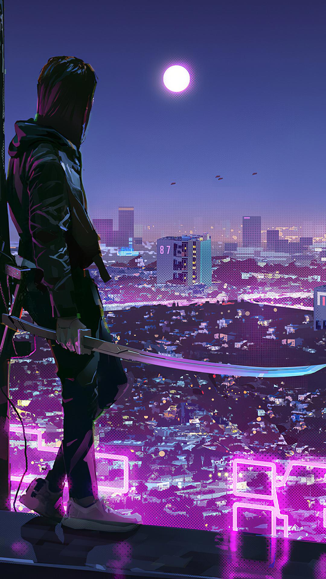 1080x1920 Neon Lights Cyber Ninja Boy 4k Iphone 7,6s,6 ...