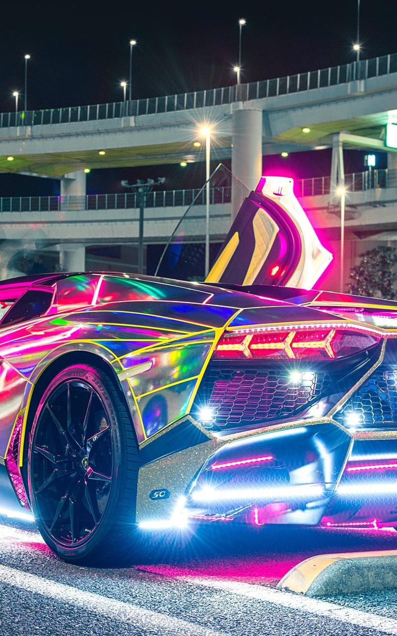 neon lights lamborghini aw