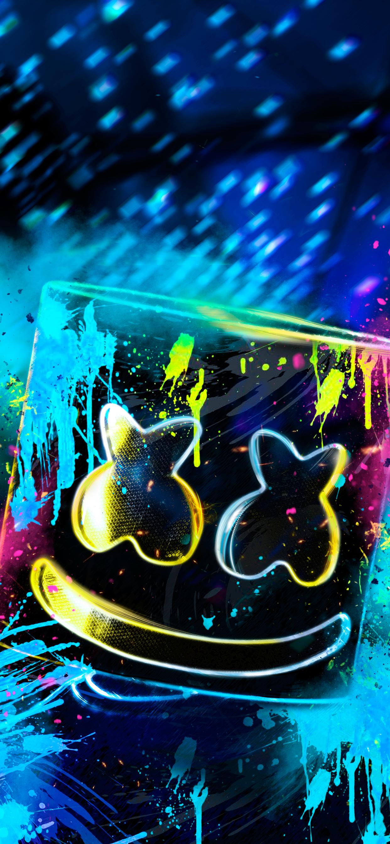 1242x2688 Neon Marshmello Iphone XS MAX HD 4k Wallpapers ...