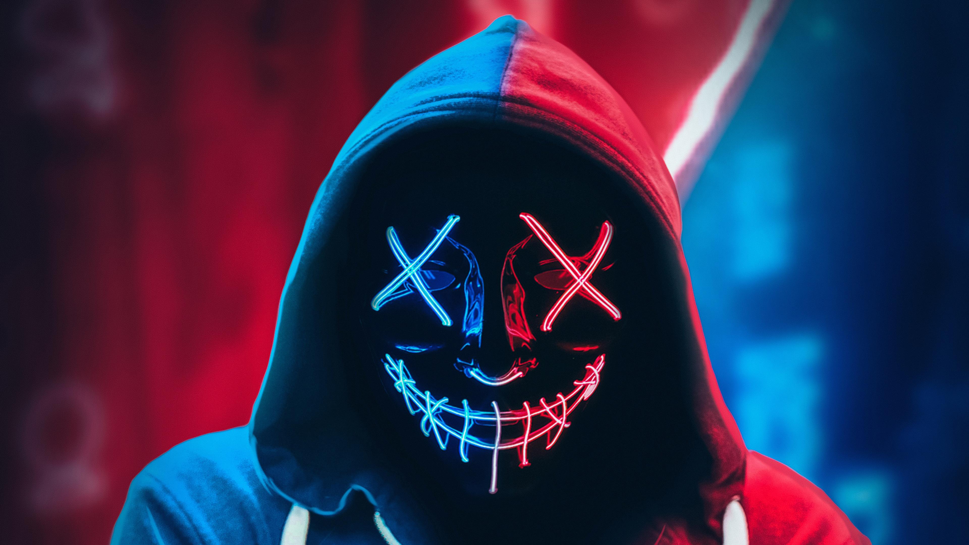 neon 4k mask wallpapers hoodie purge laptop desktop pc hypebeast guy masks money resolution heist led backgrounds amazing 1080p aesthetic
