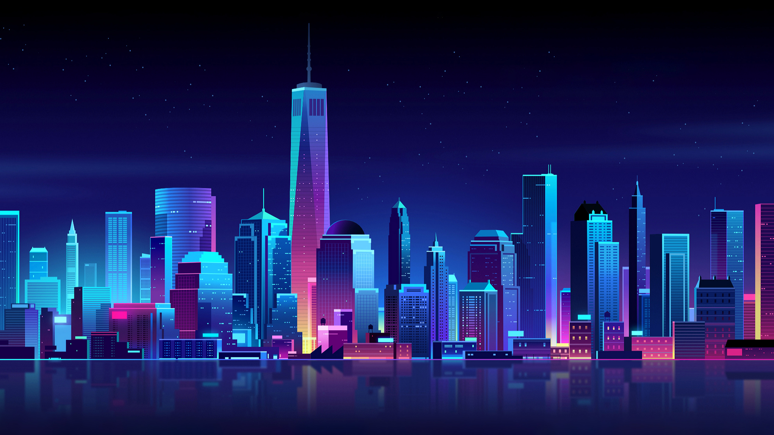 2560x1440 New York Buildings City Night Minimalism 1440P ...